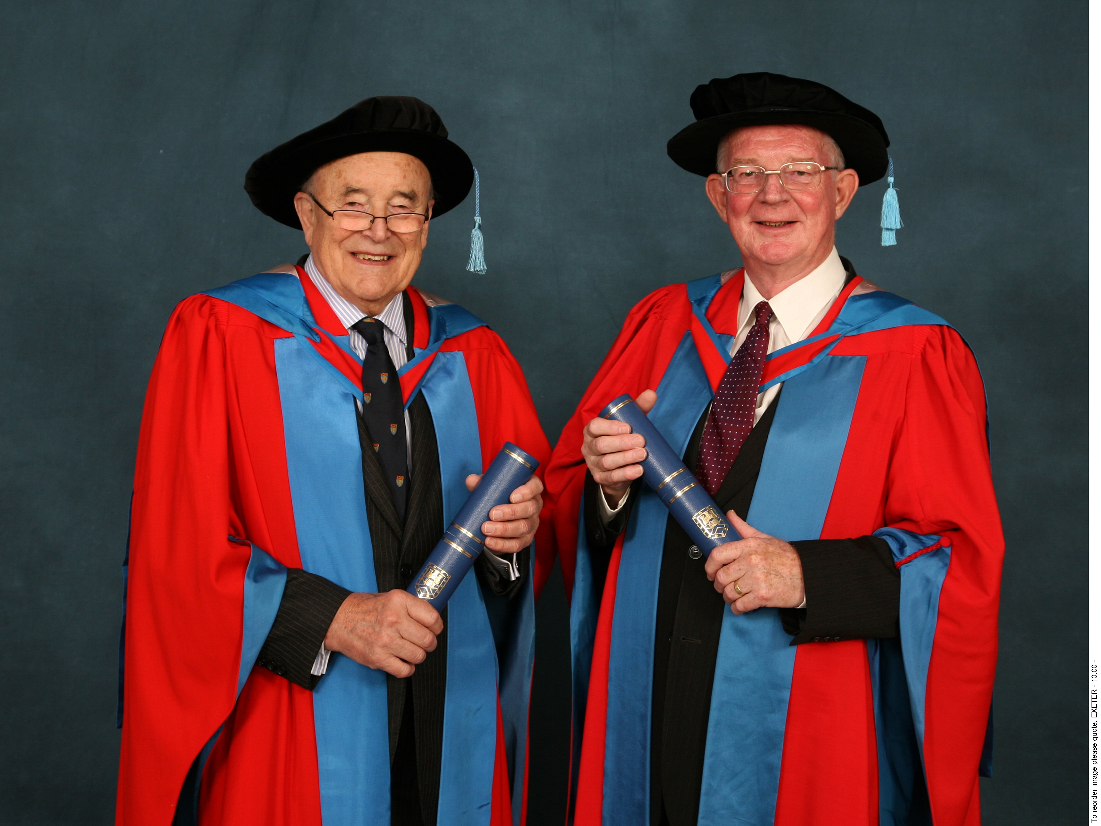 Hip creators Prof Robin Ling (left) and Dr Clive Lee received honorary degrees from the University of Exeter in 2009 (University of Exeter/PA).