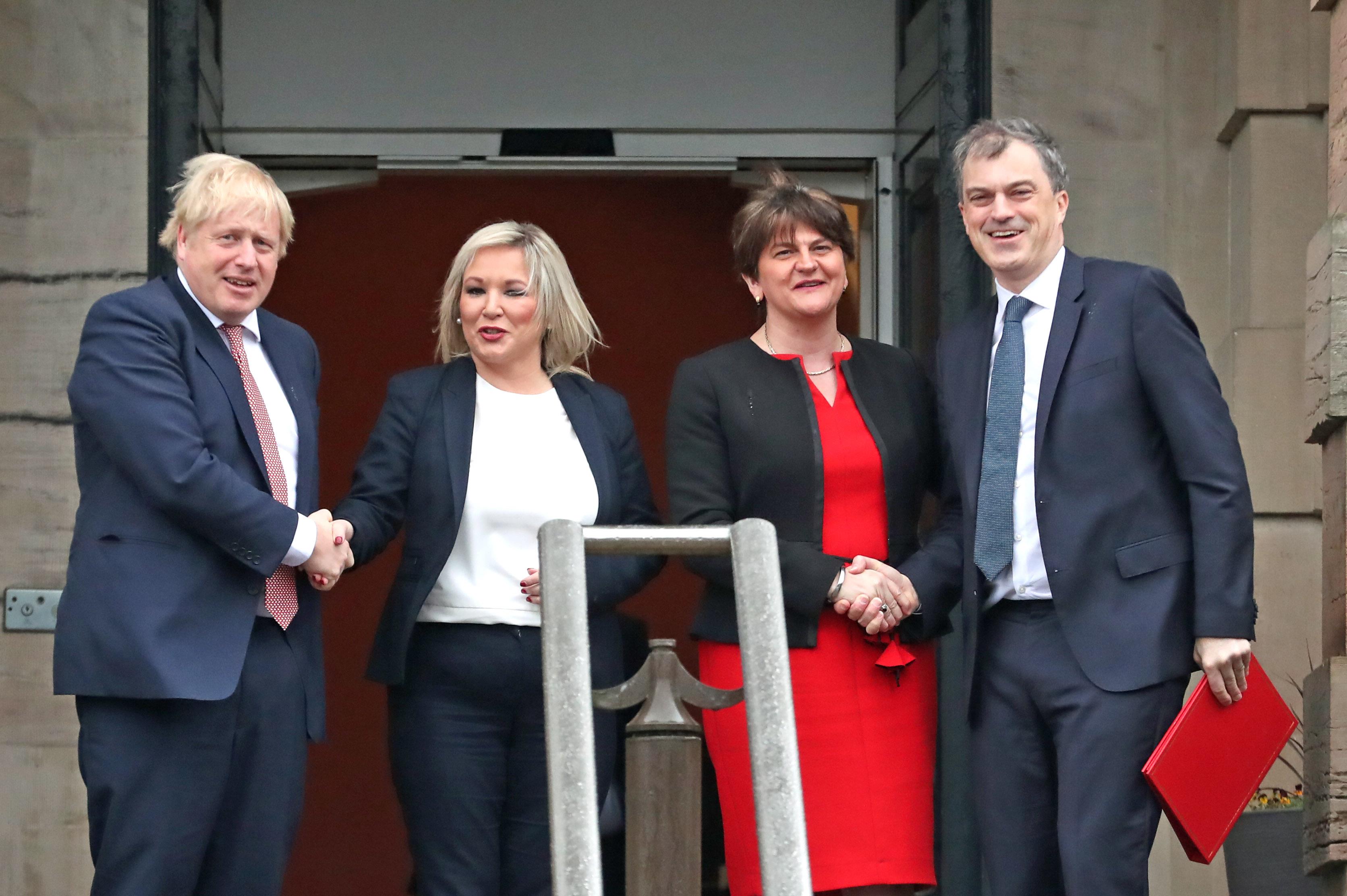 Boris Johnson, Arlene Foster, Michelle O'Neill and Julian Smith