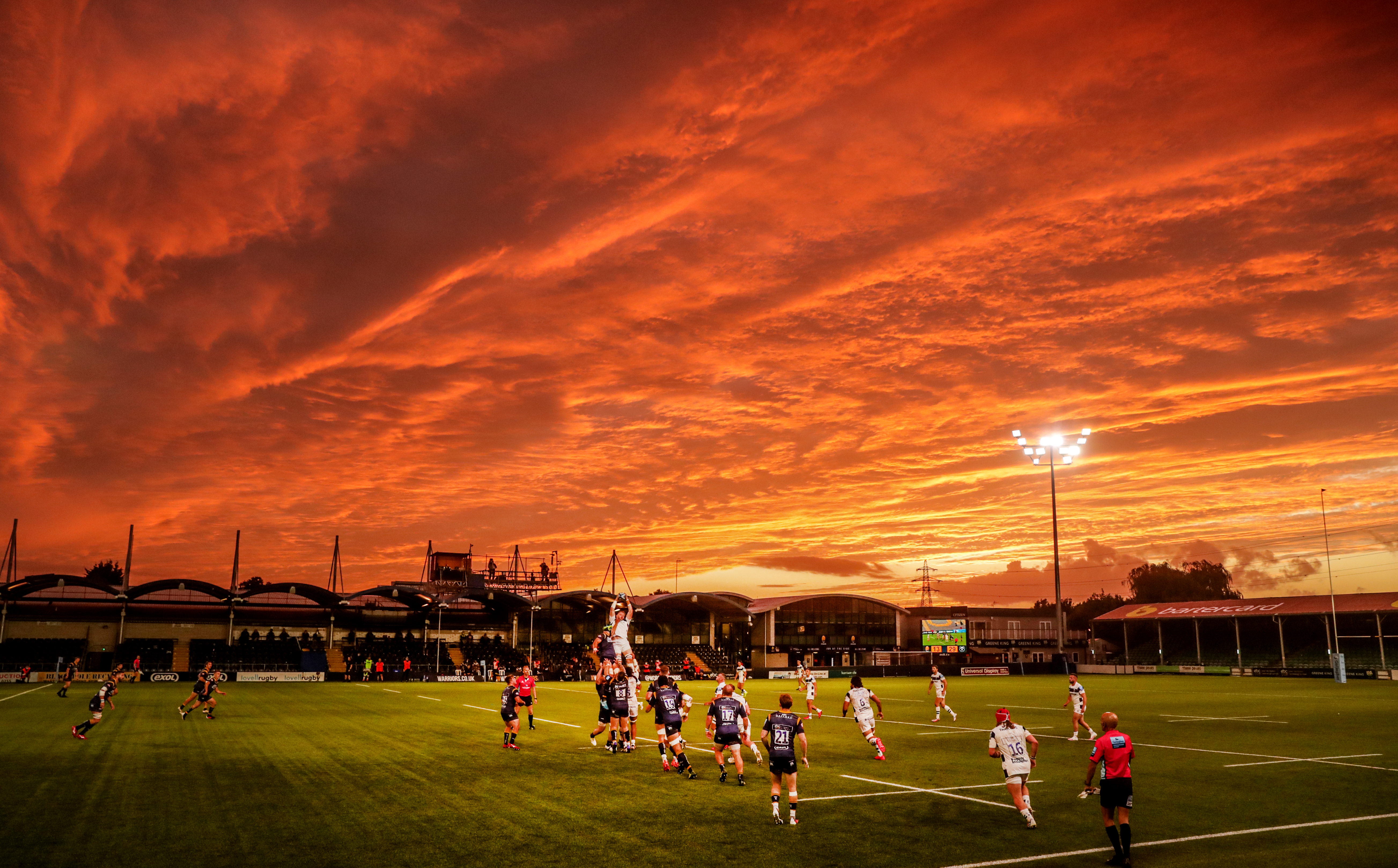 Stunning skies light up Worcester's Gallagher Premiership clash with Bristol in early September. The Bears ran out 36-13 winners at Sixways Stadium but, after finishing the prolonged season in third place, were defeated by Wasps in the play-off semi-finals.