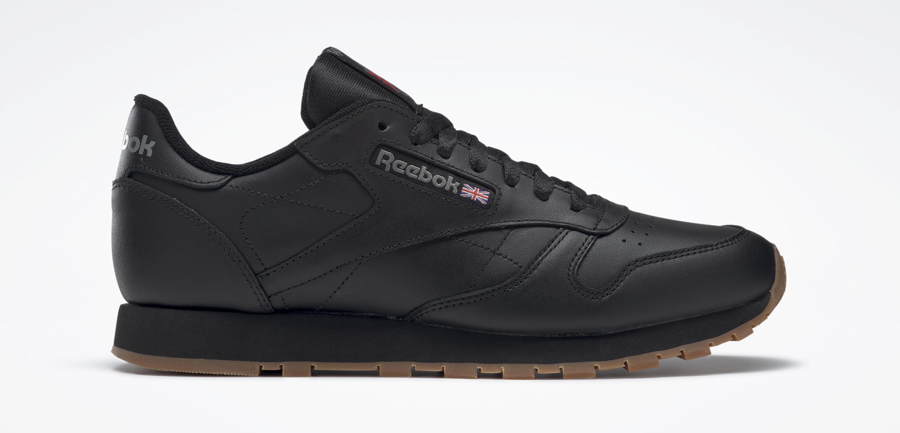 Reebok Classic Leather Shoes Intense Black/Gum