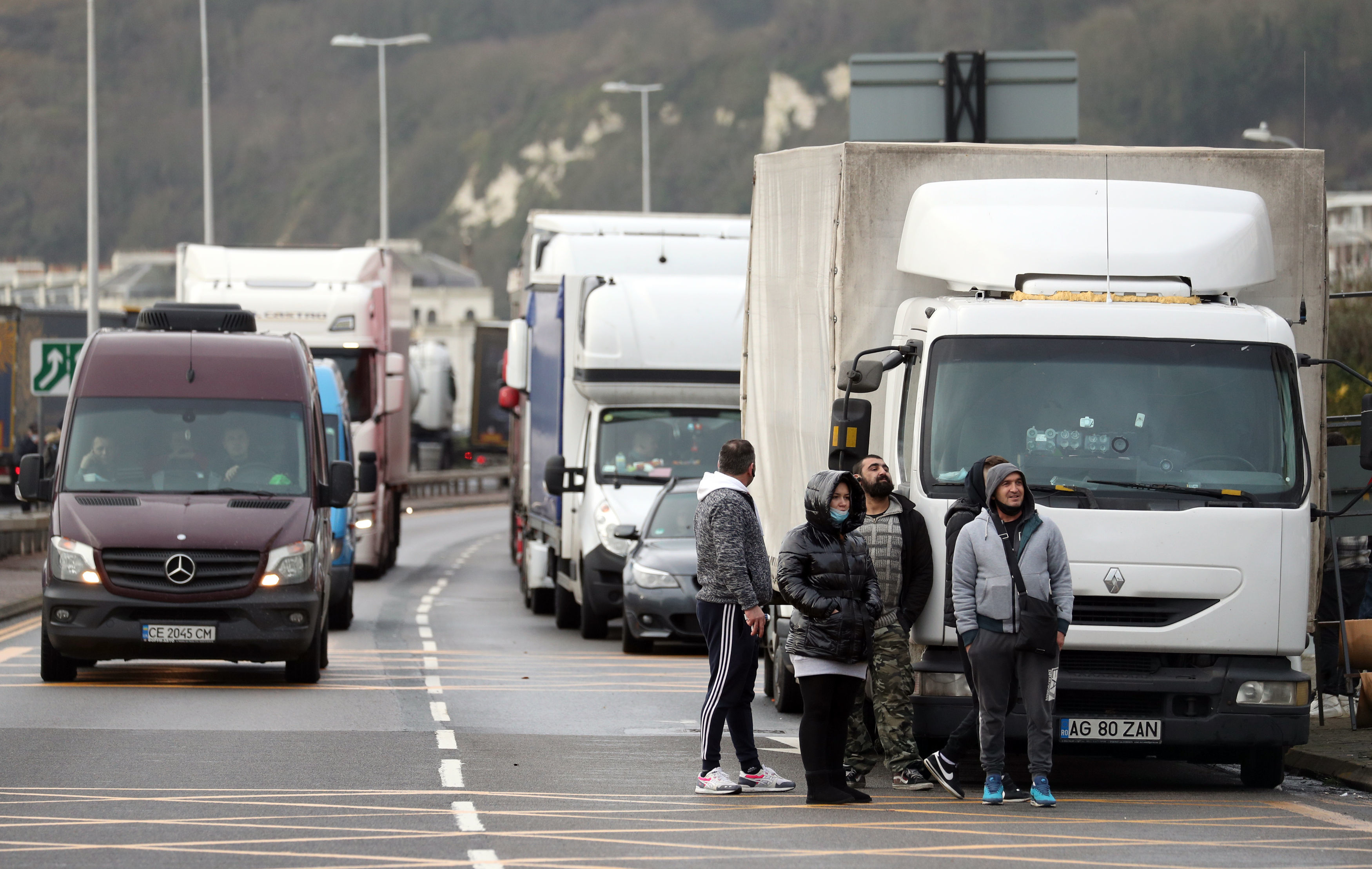 Vehicles parked up outside the entrance to the Port of Dover