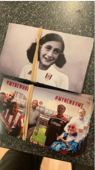 A bundle of stickers depicting Anne Frank in a Fulham shirt, which it is believed were intended for distribution before the sides met last March