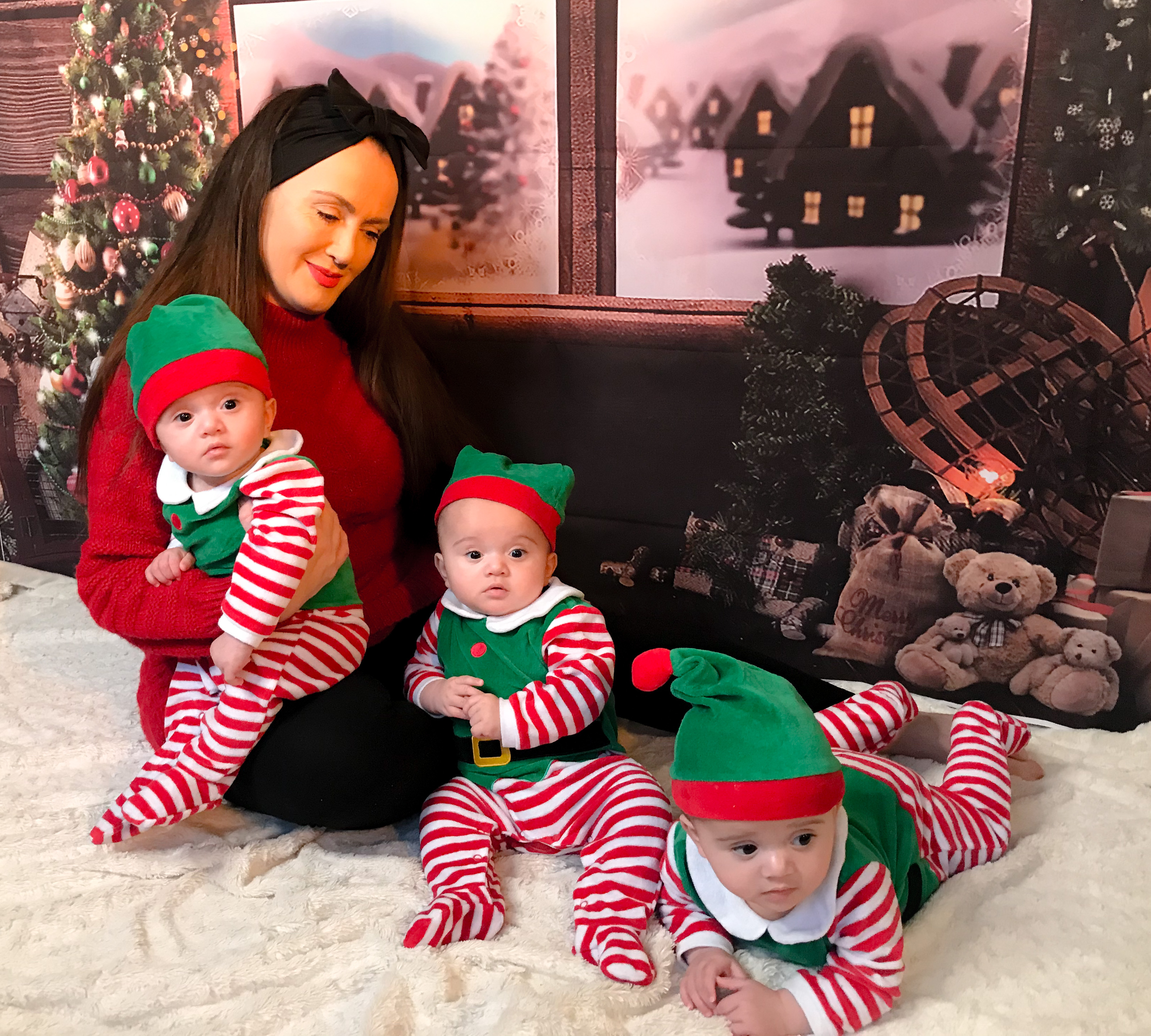 Summer Preston with her triplet boys Otis, Rocco and Prince who will be celebrating their first Christmas (Summer Preston/PA)