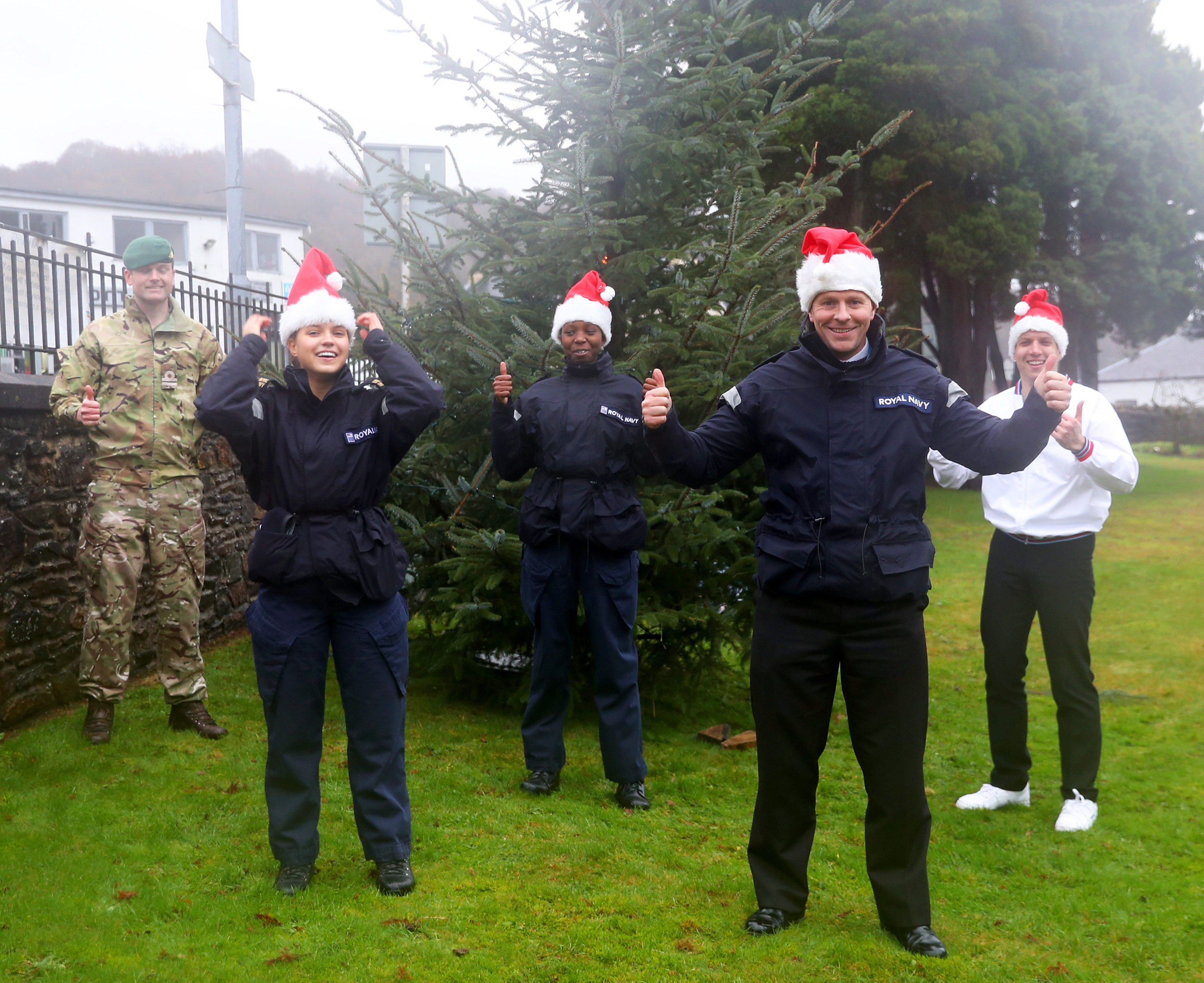 Sailors with Christmas trees