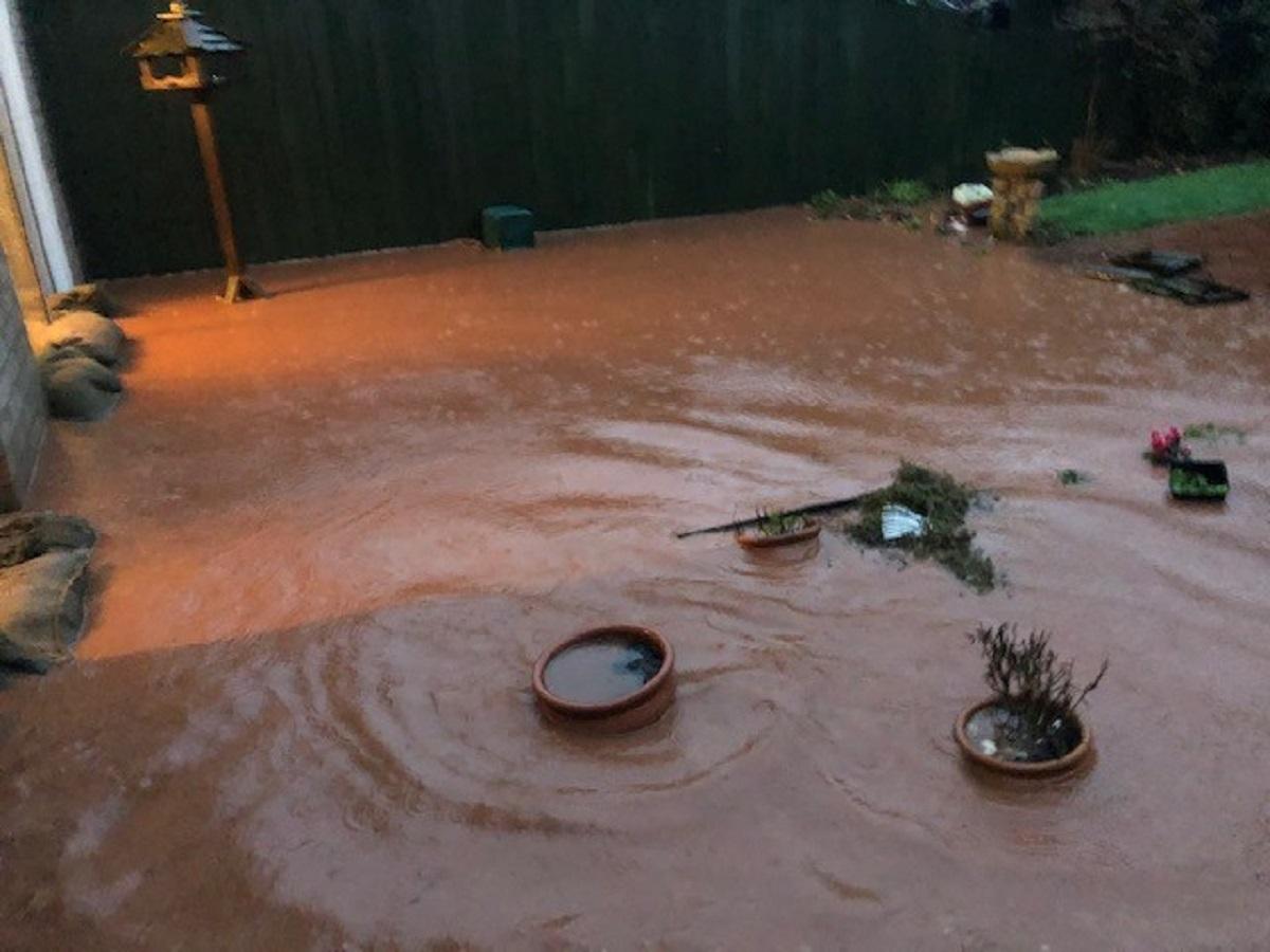 Flooding in Mrs James' garden