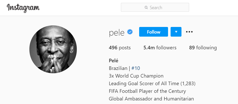 Pele's Instagram account declares him the world's all-time leading goalscorer