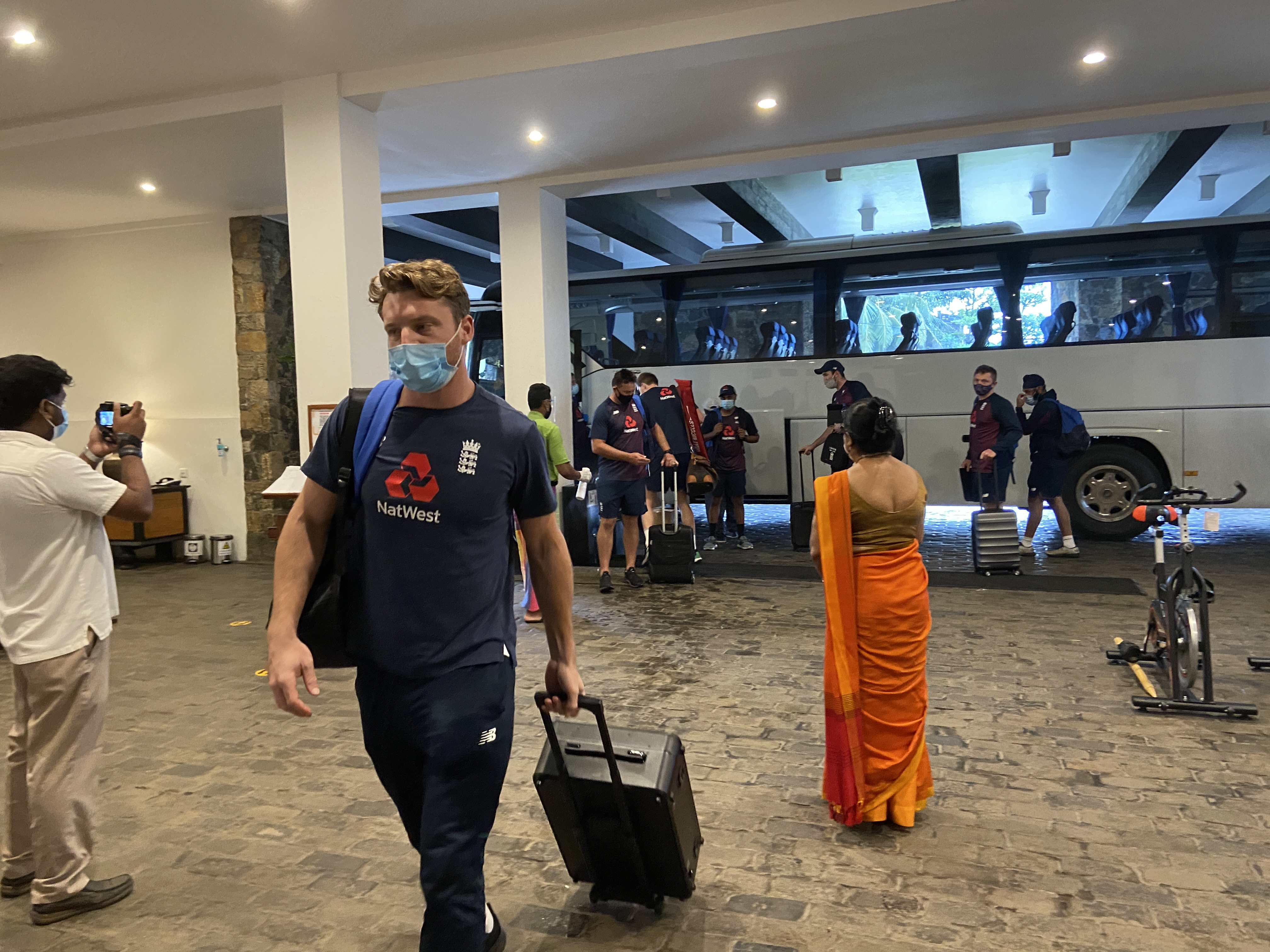 Jos Buttler arrives in Galle ahead of the first Test.