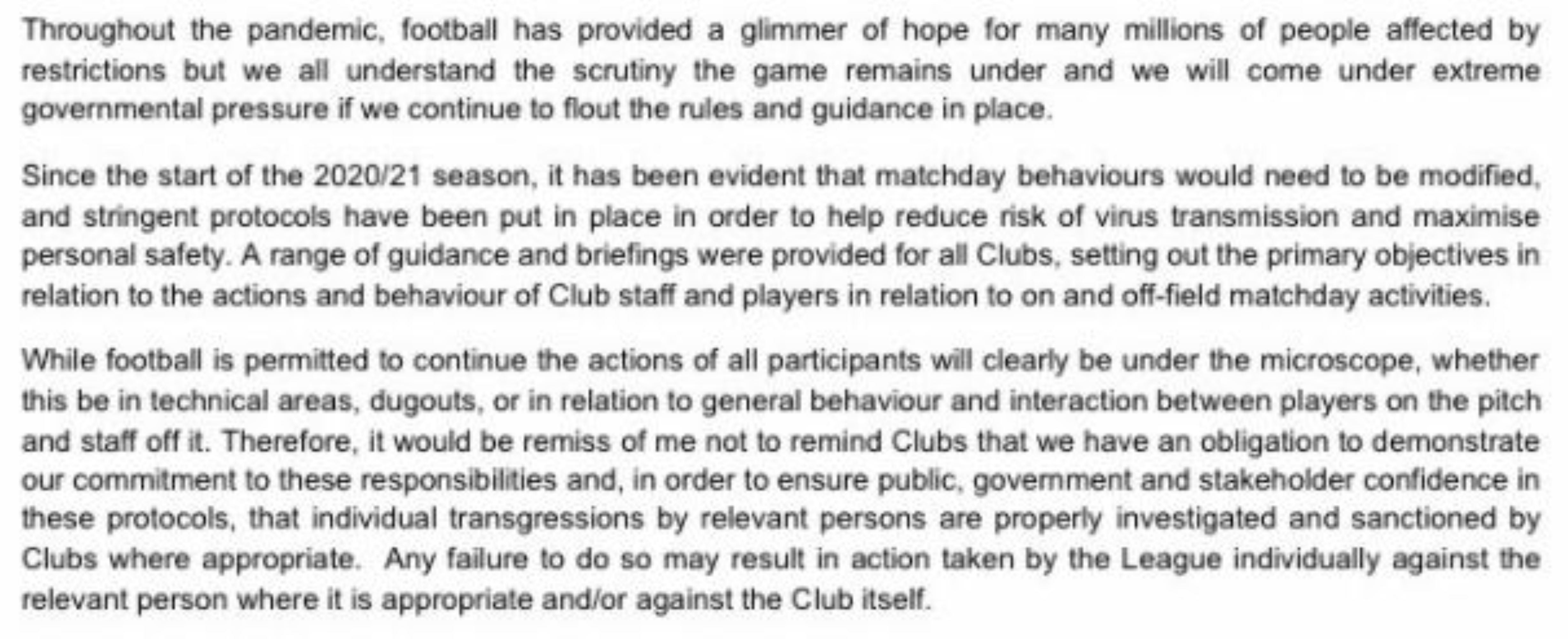 Extract from a letter sent by EFL chief executive Trevor Birch to league clubs