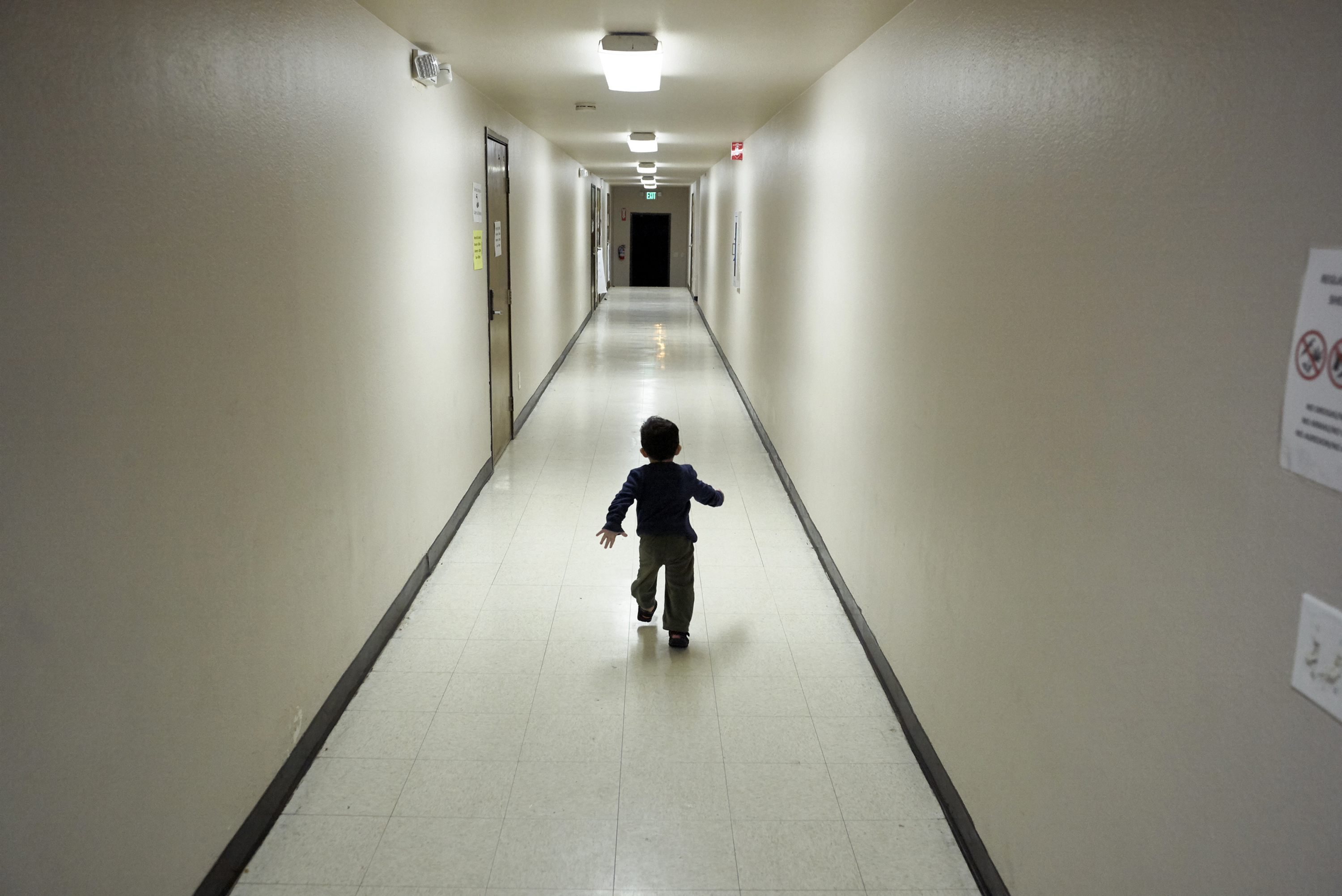 An asylum-seeking boy from Central America arriving from an immigration detention centre to a shelter in San Diego