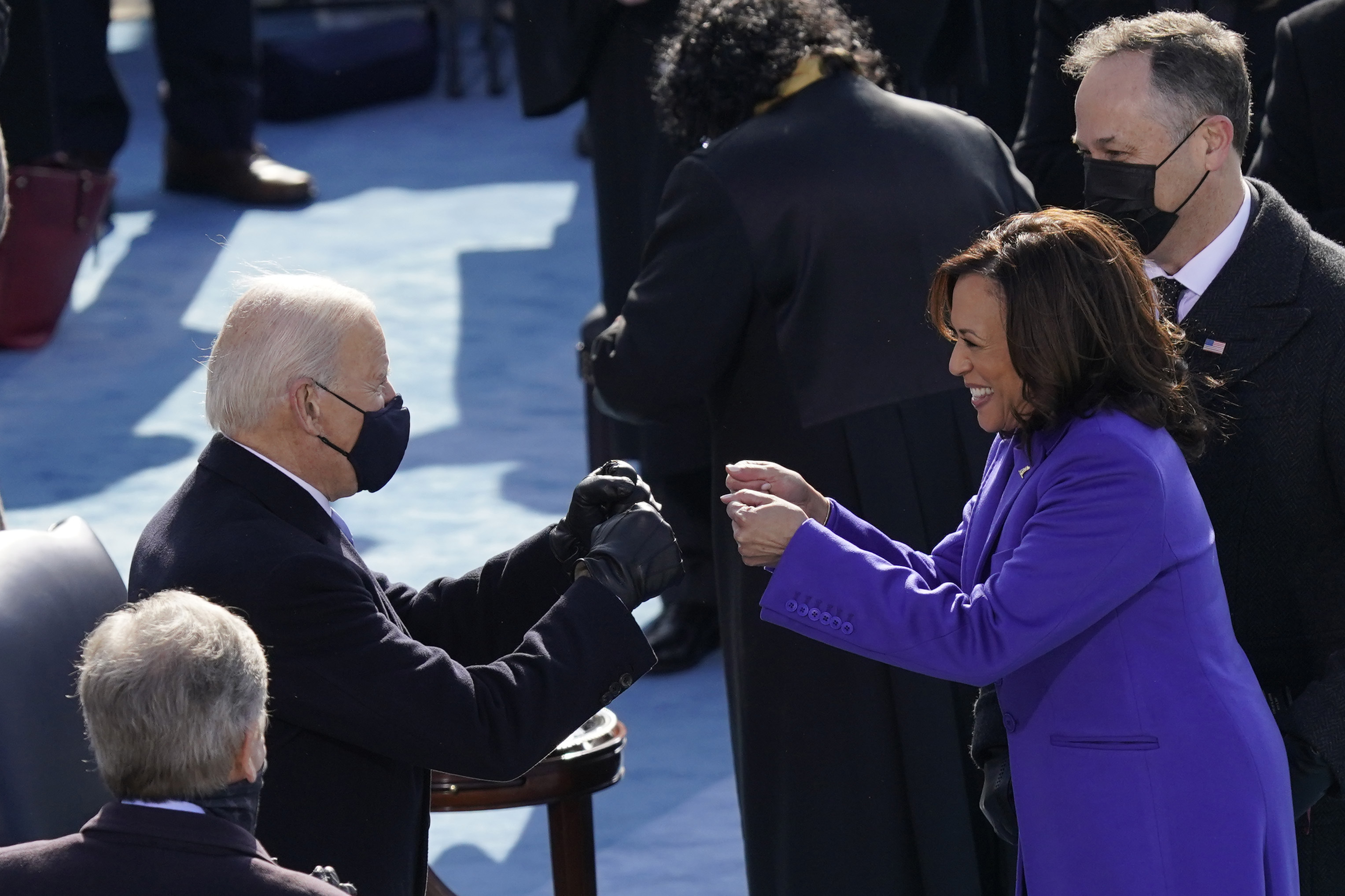 Joe Biden congratulates Kamala Harris after she was sworn in as vice president