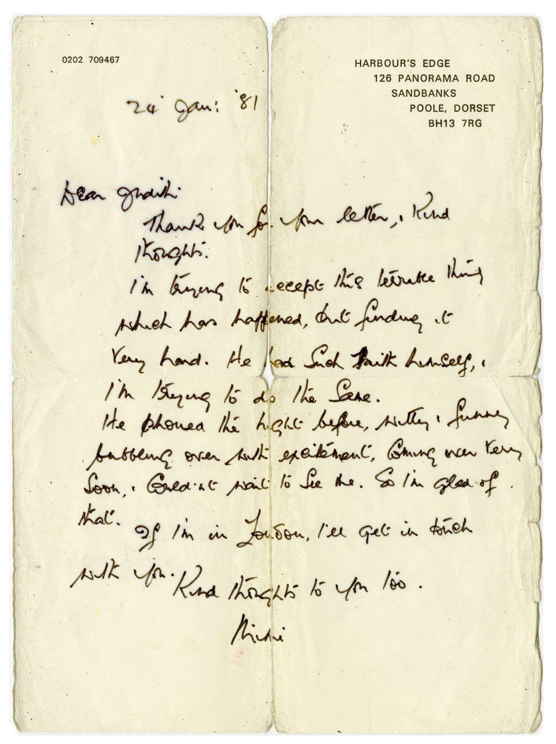 Letter from John Lennon's Aunt Mimi after his death