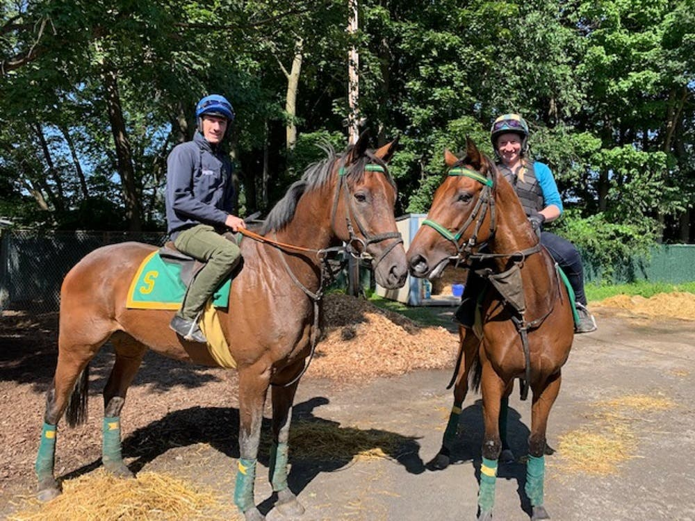 Sam Twiston Davies on AllthewayJose and Keri Brion on Winston C (right) in Saratoga (Keri Brion)