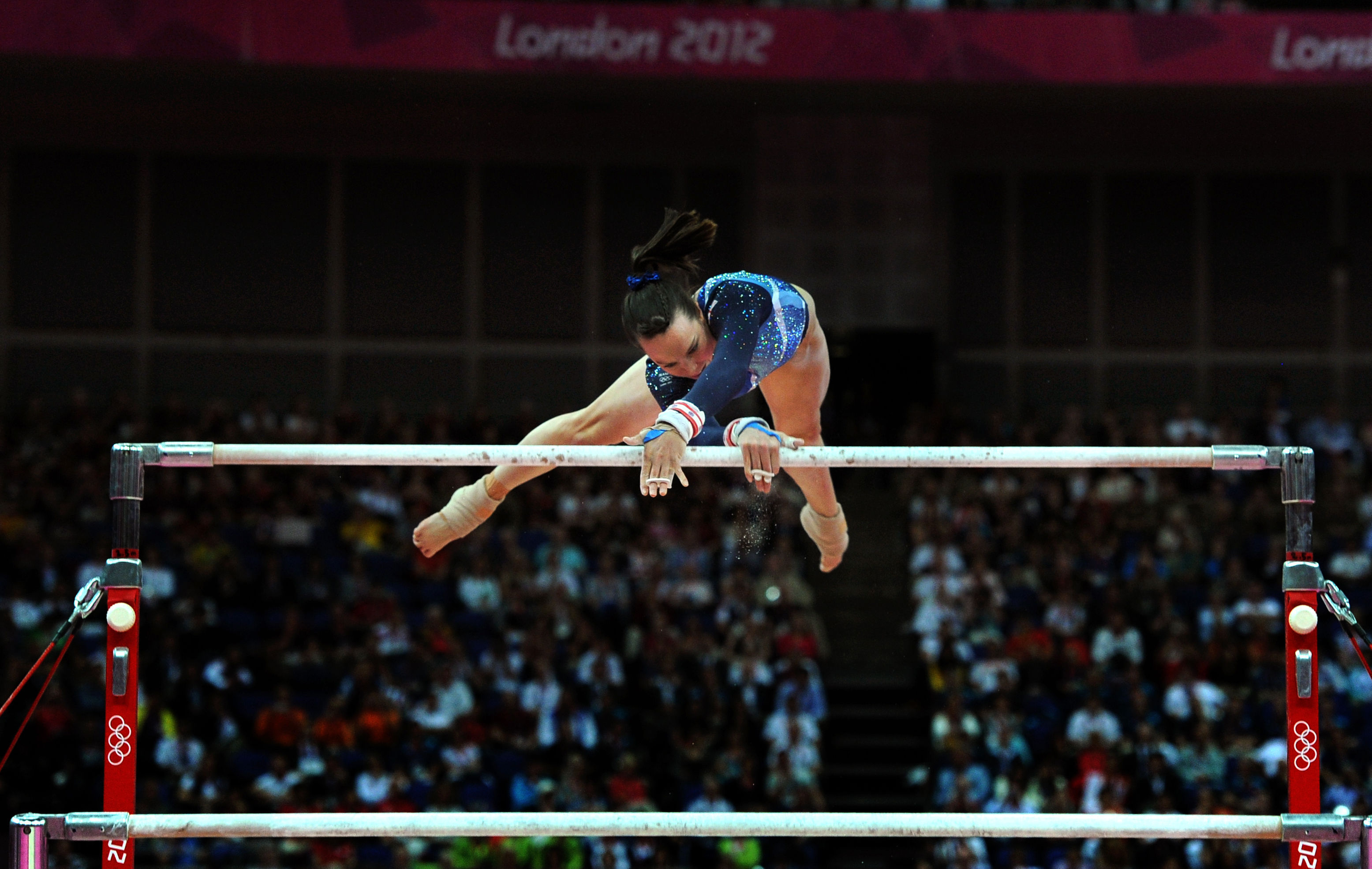 Beth Tweddle on the uneven bars during the London 2012 Games (Anthony Devlin/PA)