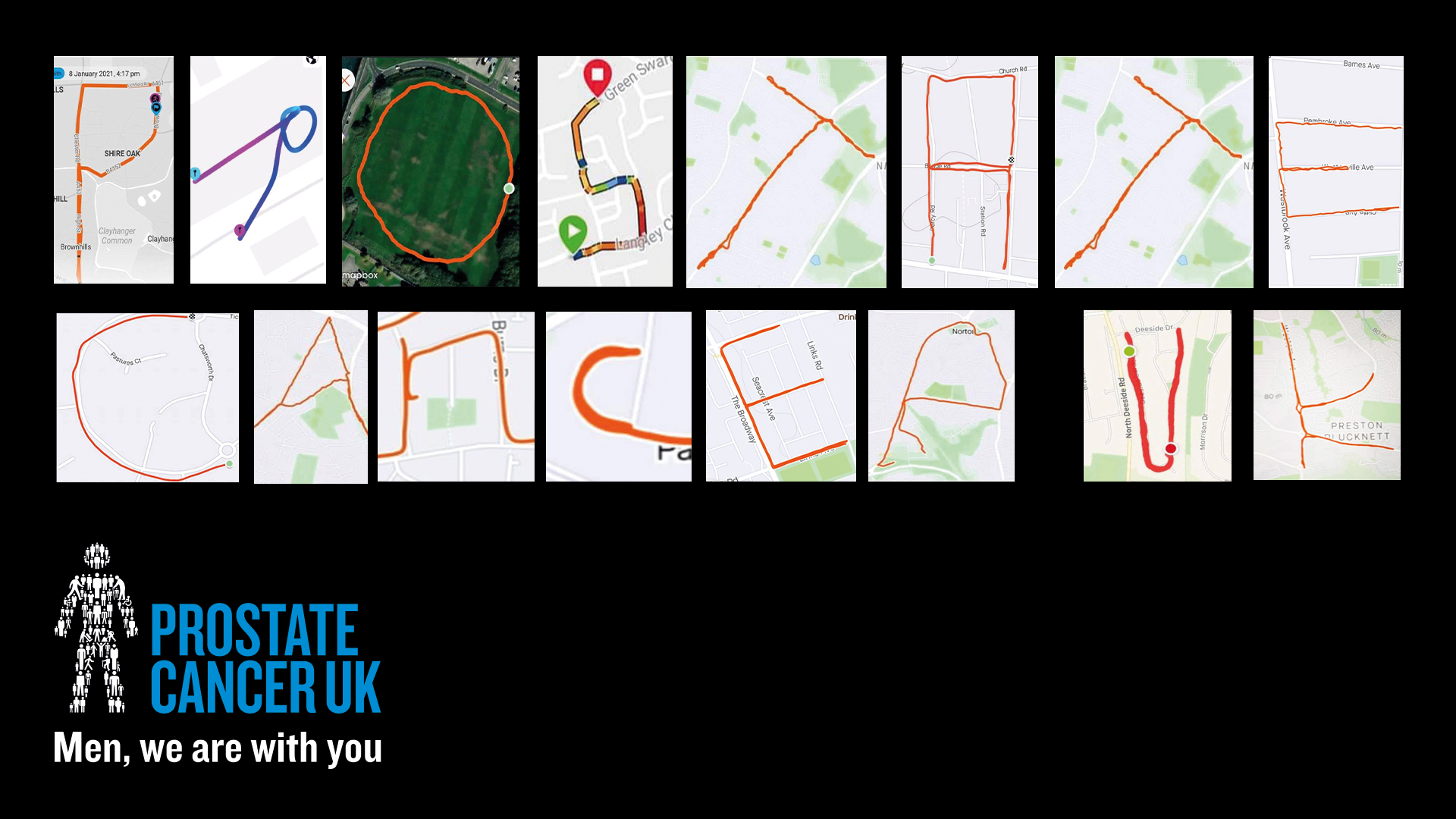 Runners spell out 'PROSTATE CANCER UK' on their running apps