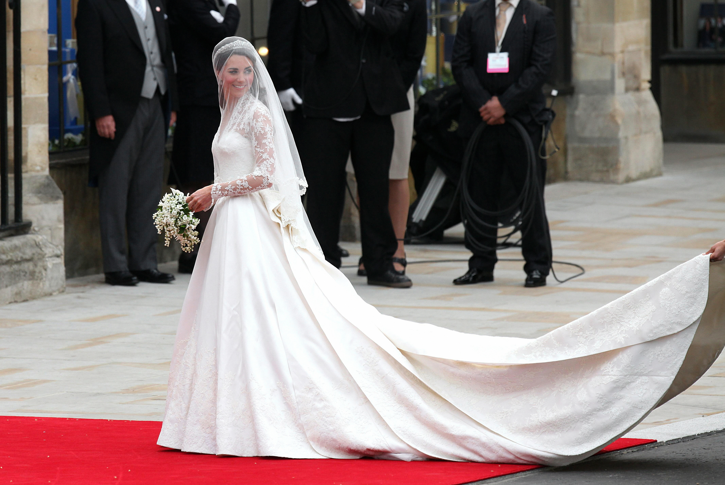 Kate Middleton arrives at Westminster Abbey, London, before her marriage to Prince William.