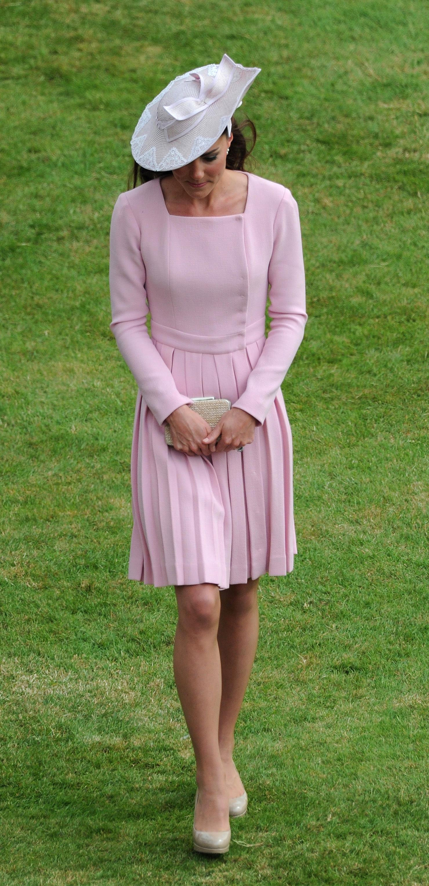 The Duchess of Cambridge attends a garden party at Buckingham Palace, London.