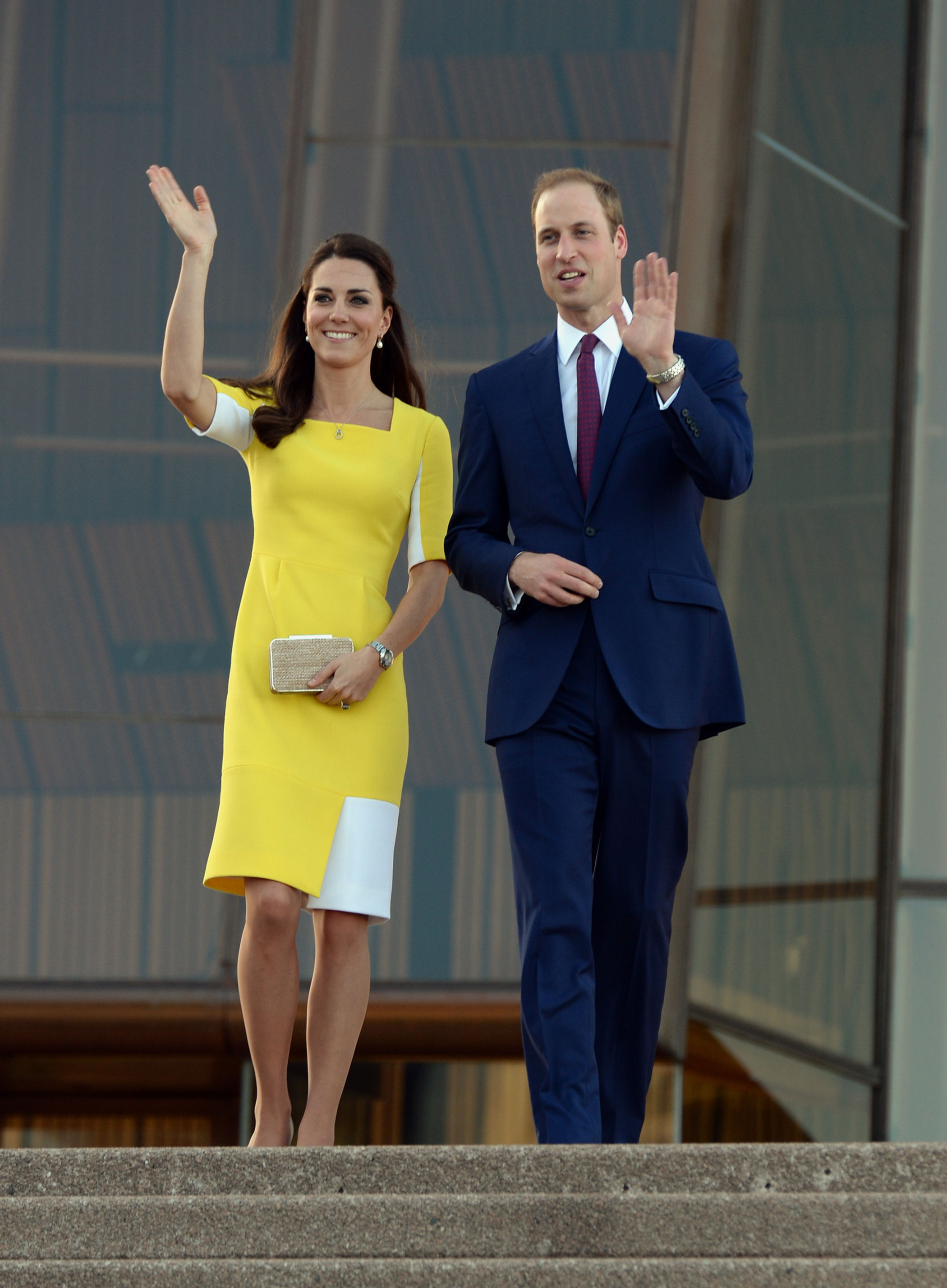 The Duke and Duchess leave the Sydney Opera House following a reception hosted by the Governor and Premier of New South Wales during the tenth day of their official tour to New Zealand and Australia