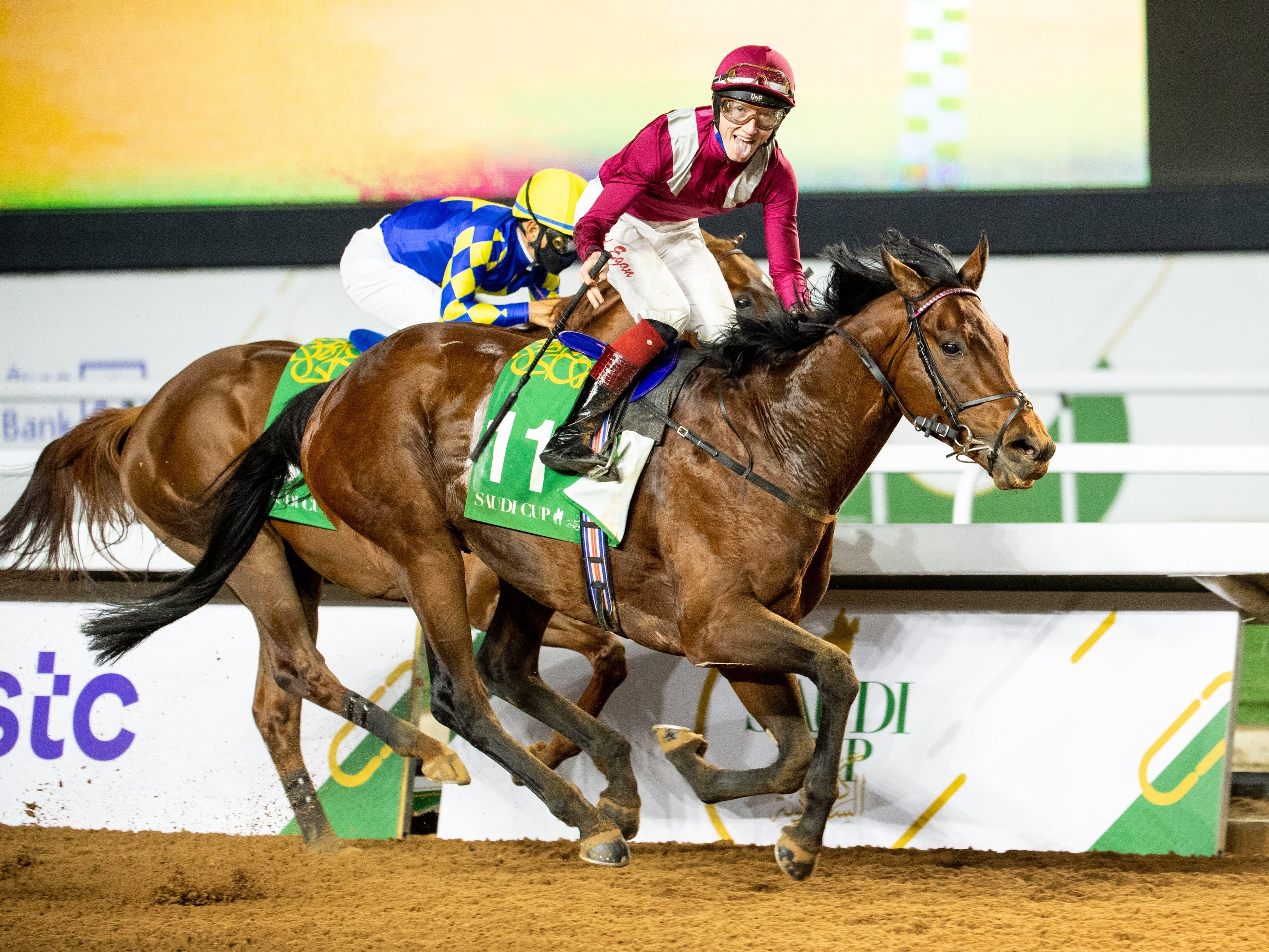 Glory for David Egan and Mishriff in the Saudi Cup (Jockey Club of Saudi Arabia/Douglas DeFelice)