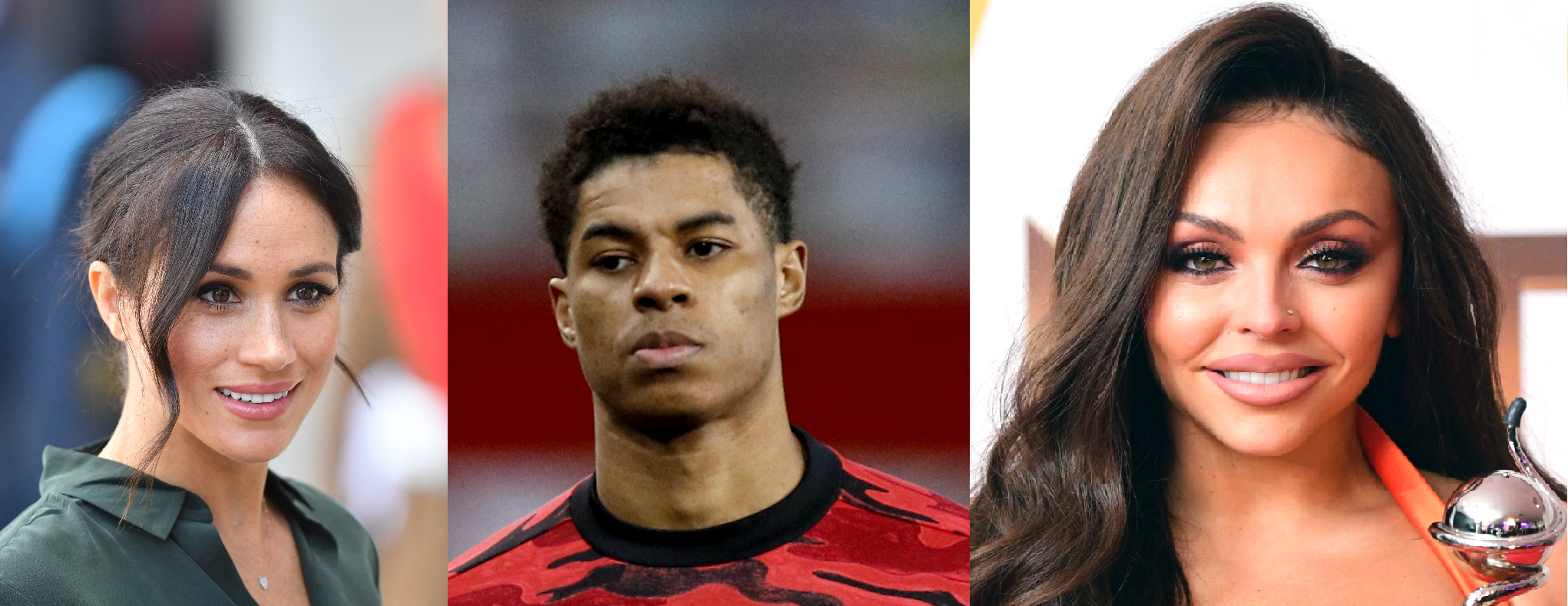 The Duchess of Sussex, Marcus Rashford, and Jesy Nelson have all been subject to online abuse (Dominic Lipinski, Phil Noble, Ian West/PA composite)