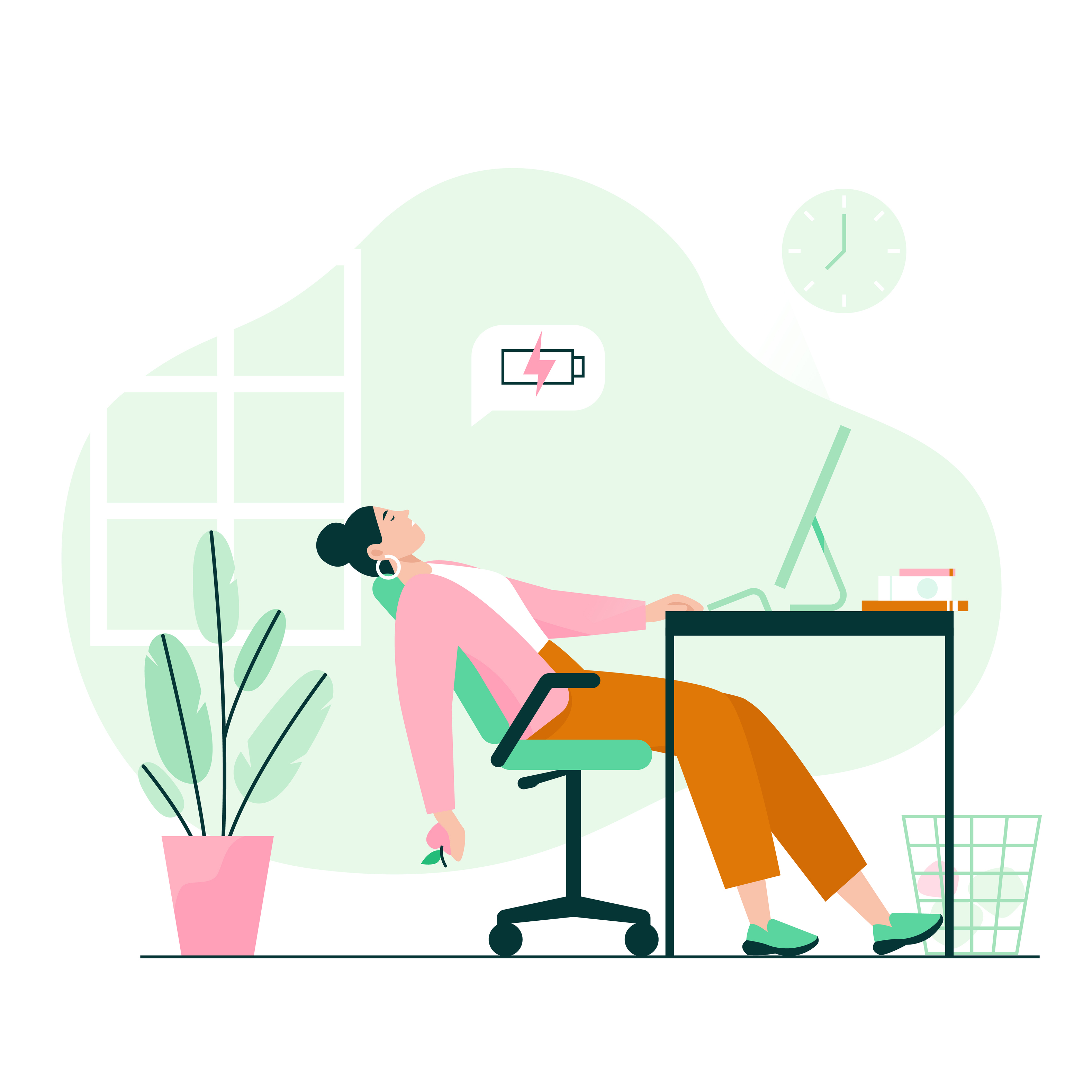 illustration of tired woman working at a desk