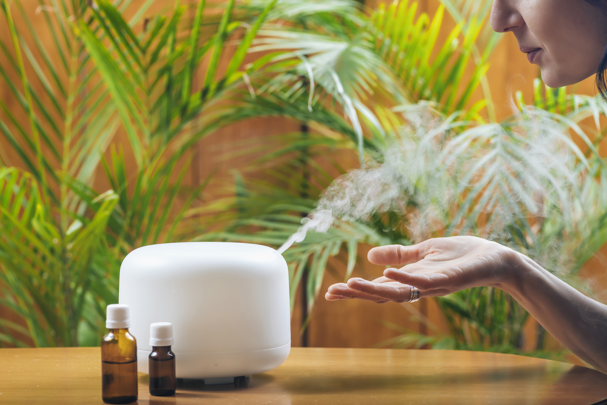 steam diffuser and essential oil bottles