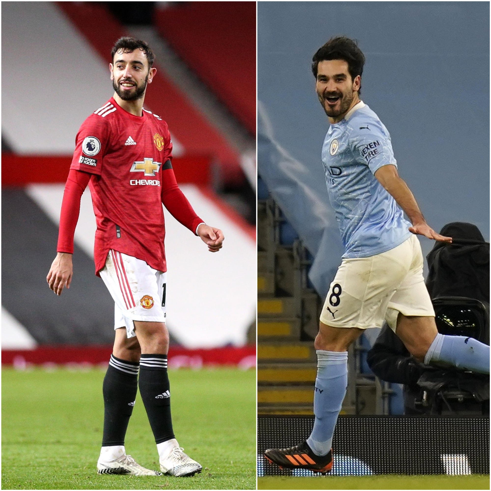 Bruno Fernandes, left, and Ilkay Gundogan