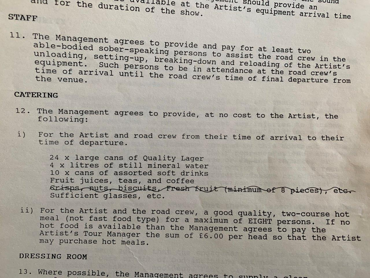 The 1994 Oasis venue contract