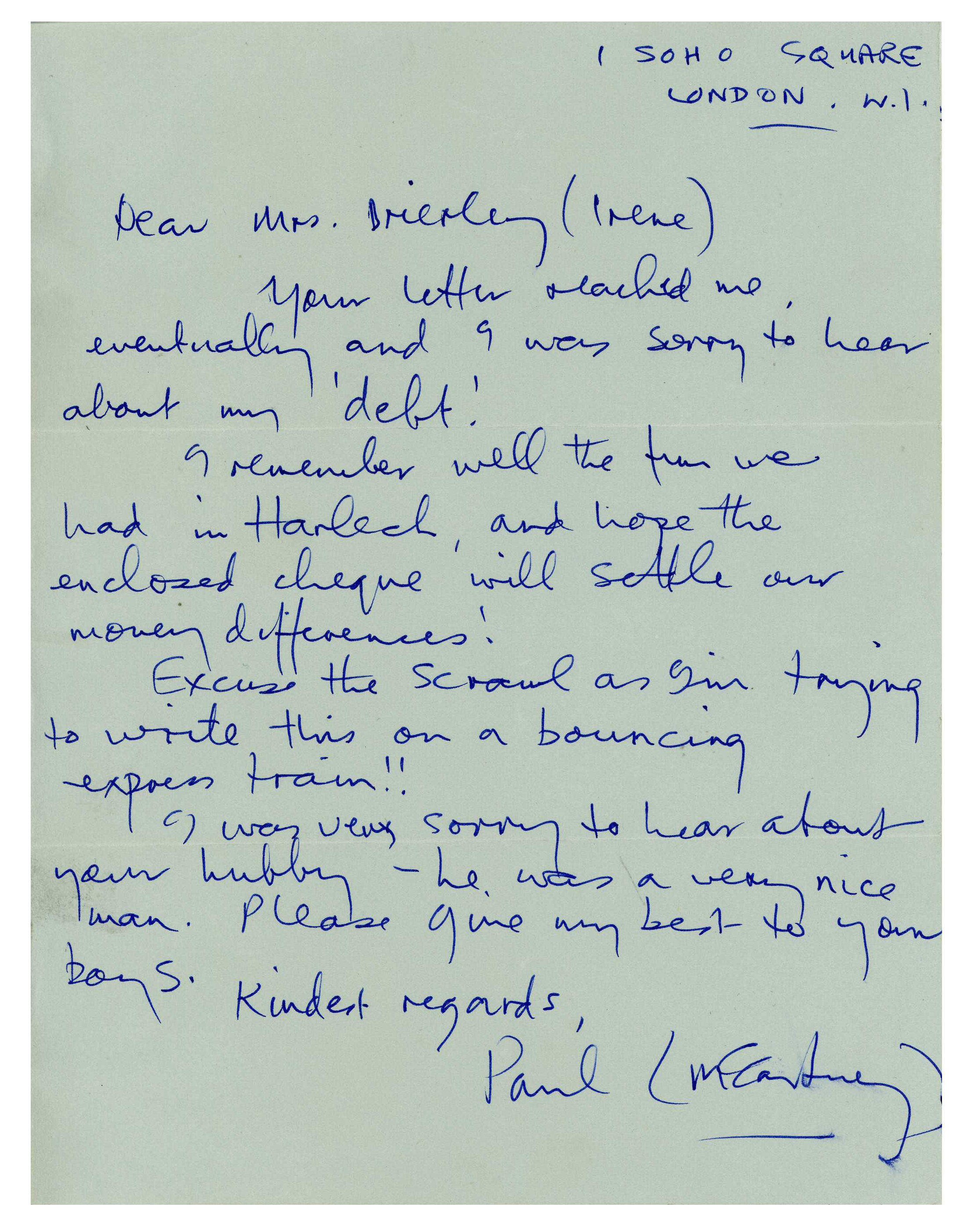 Letter from Paul McCartney to Irene Brierley