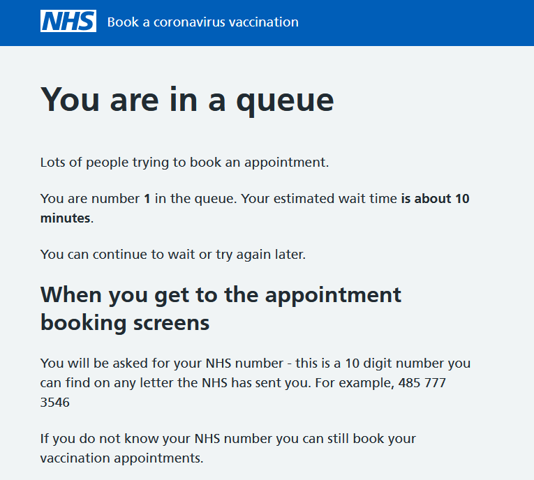 NHS vaccine queue alert