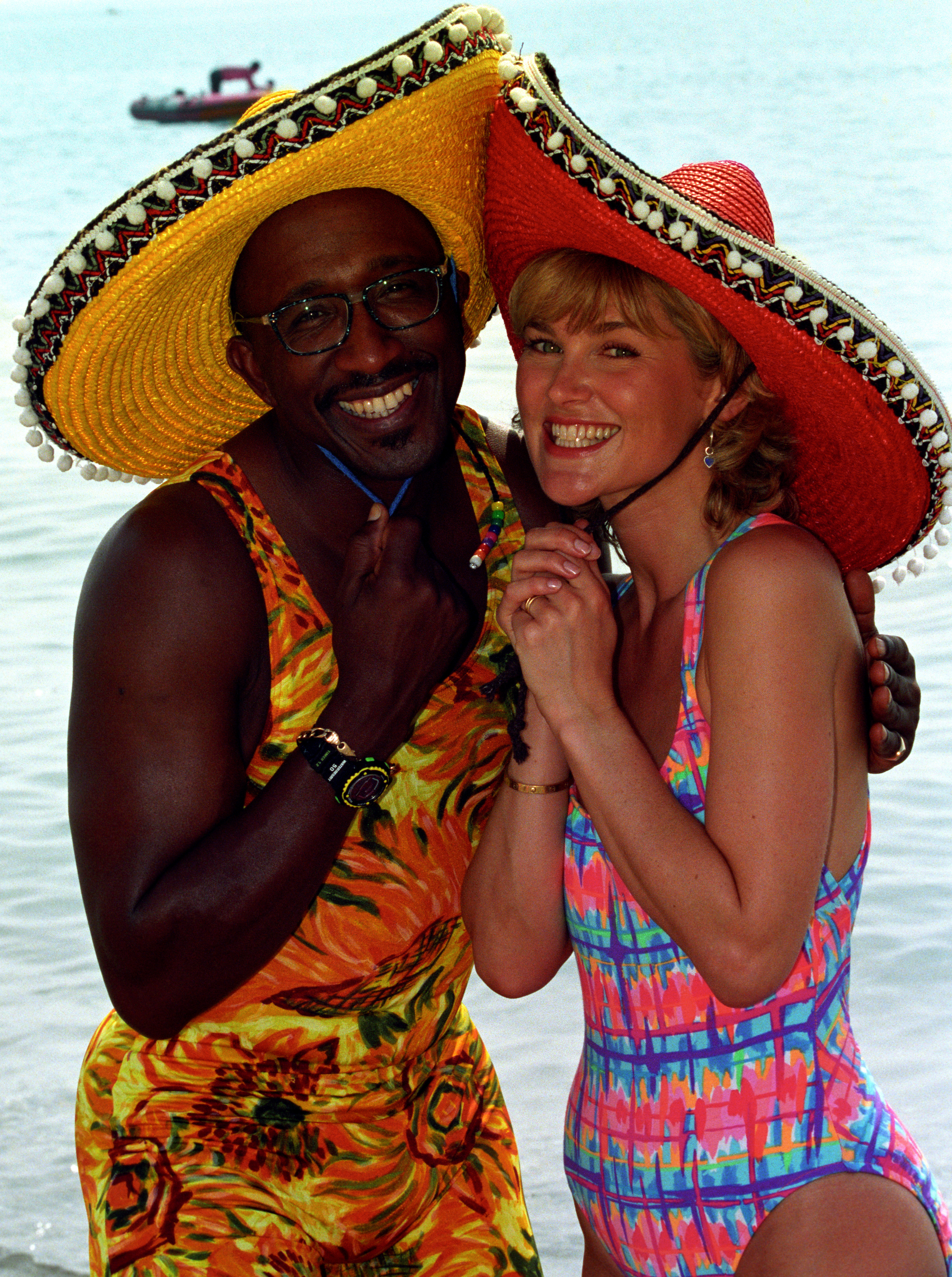 GMTV's Mr Motivator and Anthea Turner getting into the holiday spirit on the beach at Torremolinos in 1994