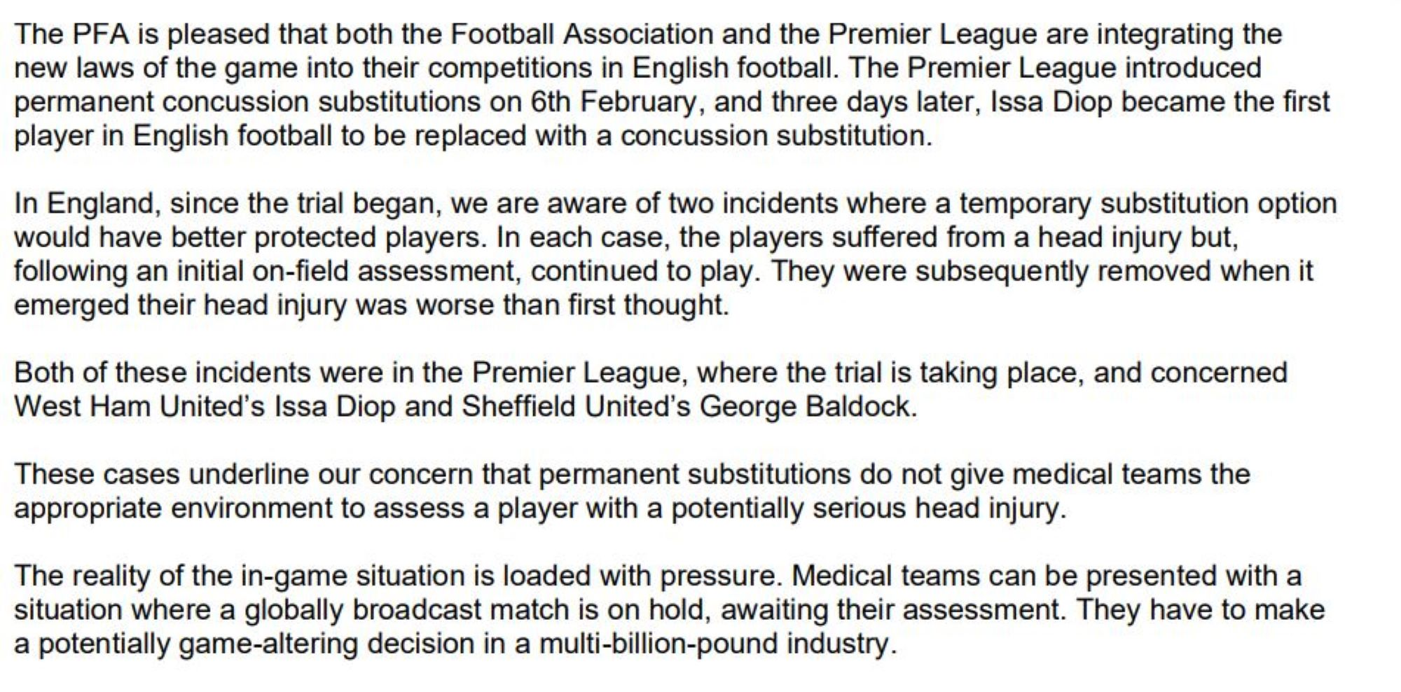 Excerpt of letter from the PFA and FIFPRO to the game's law-makers the IFAB