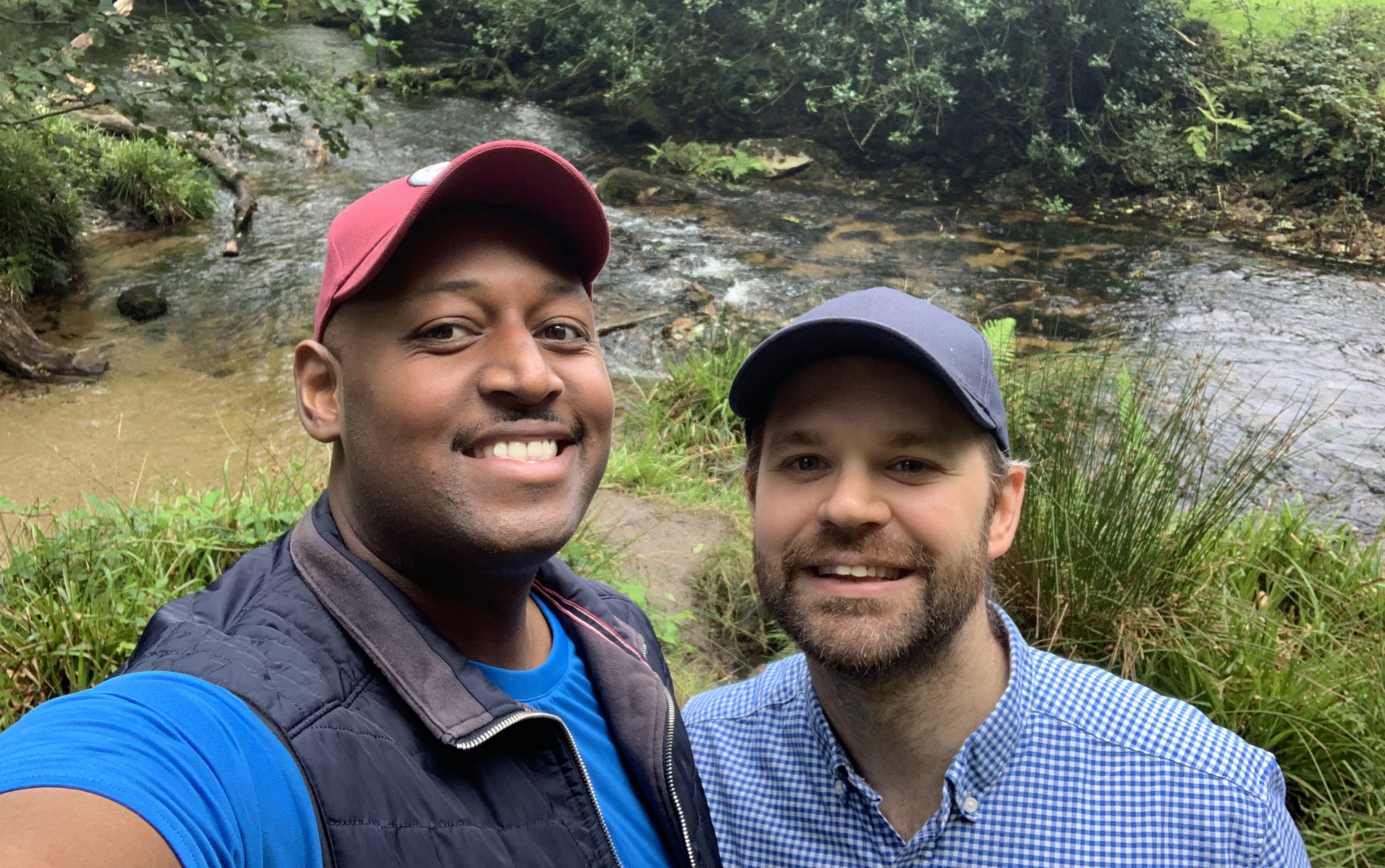 Christian Azolan and partner Konrad out for a walk