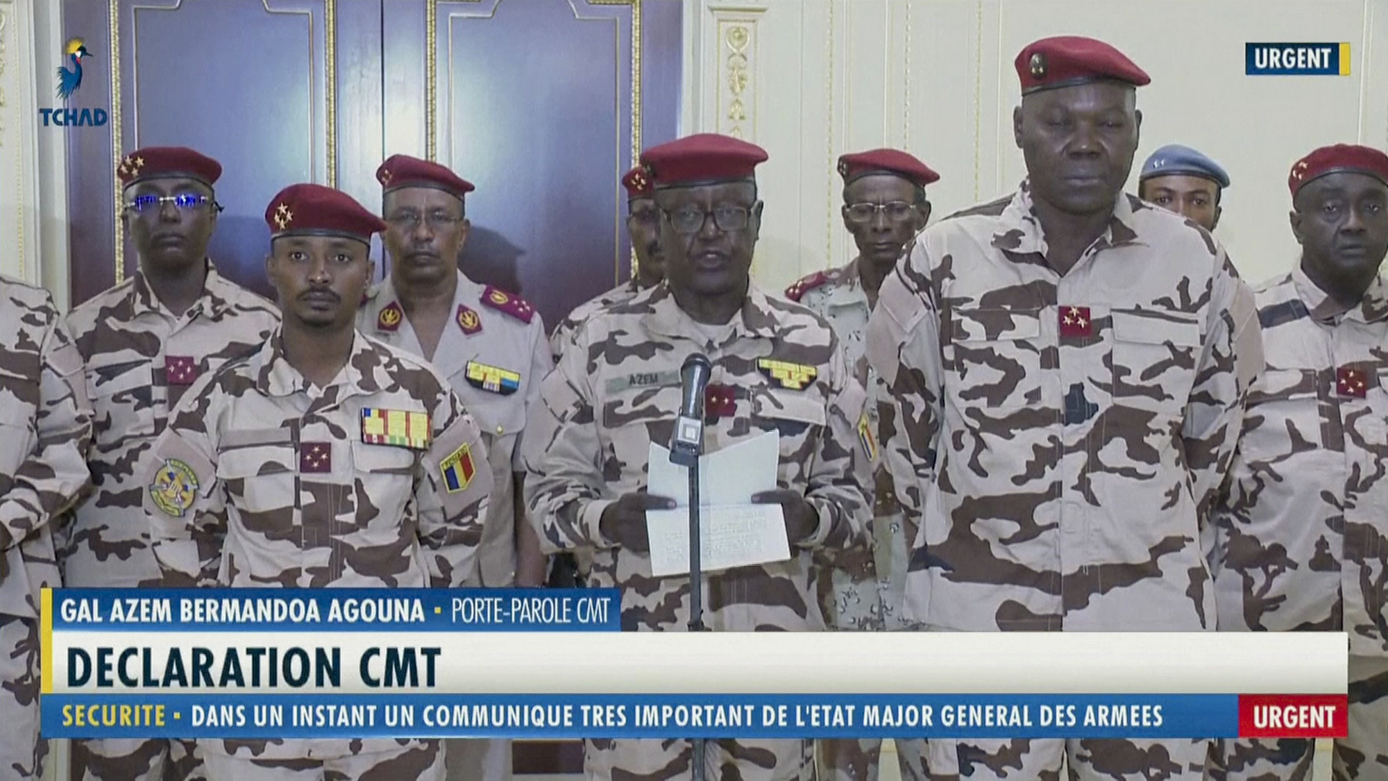 Chad army spokesman General Azem Bermandoa Agouna announces the death of Chadian President Idriss Deby Itno on state television