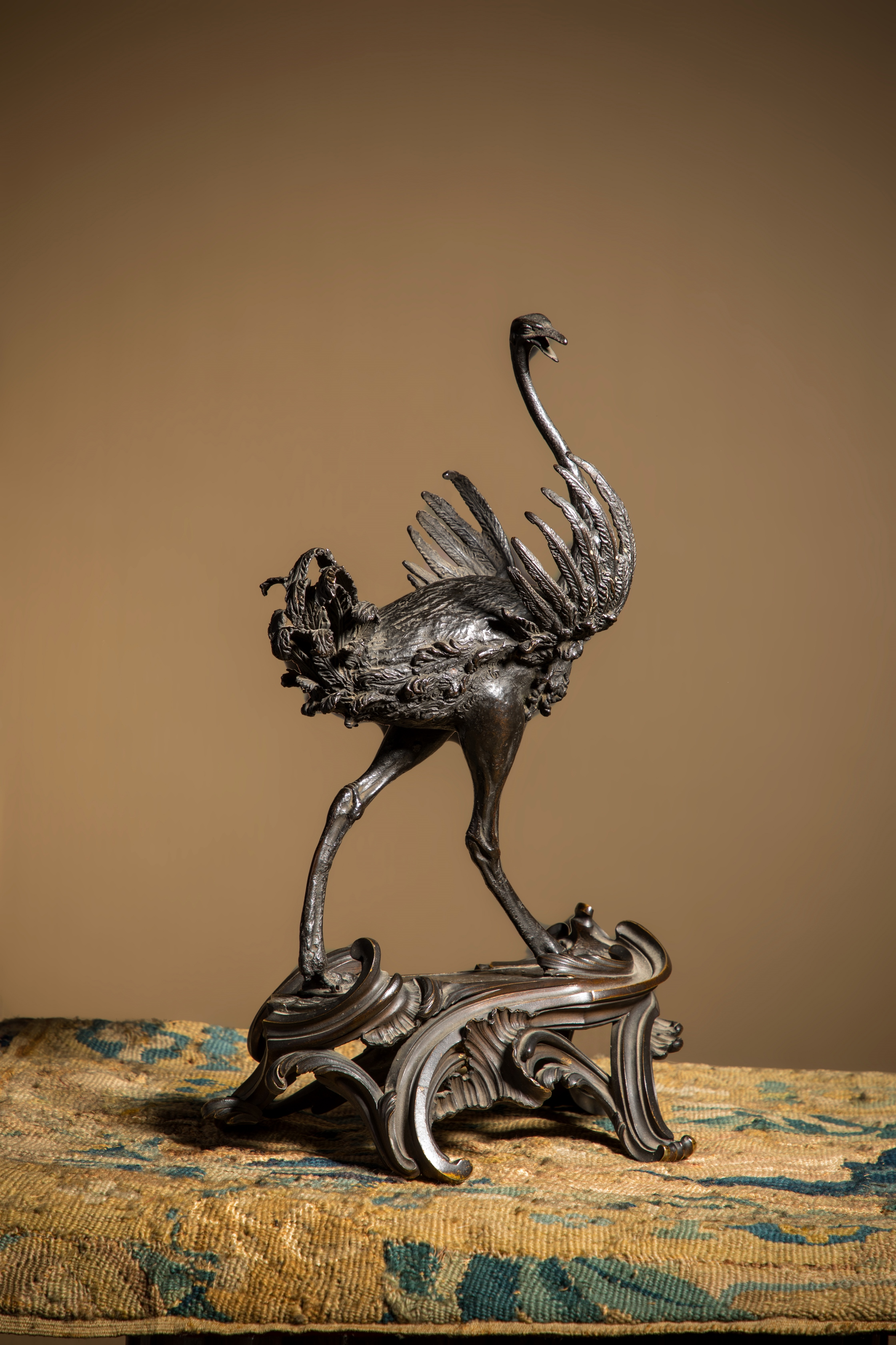 A bronze ostrich sculpture by Renaissance artist Giambologna sold at auction for £1,824,540 at Cheffins Fine Sale in Cambridge (Cheffins/PA)