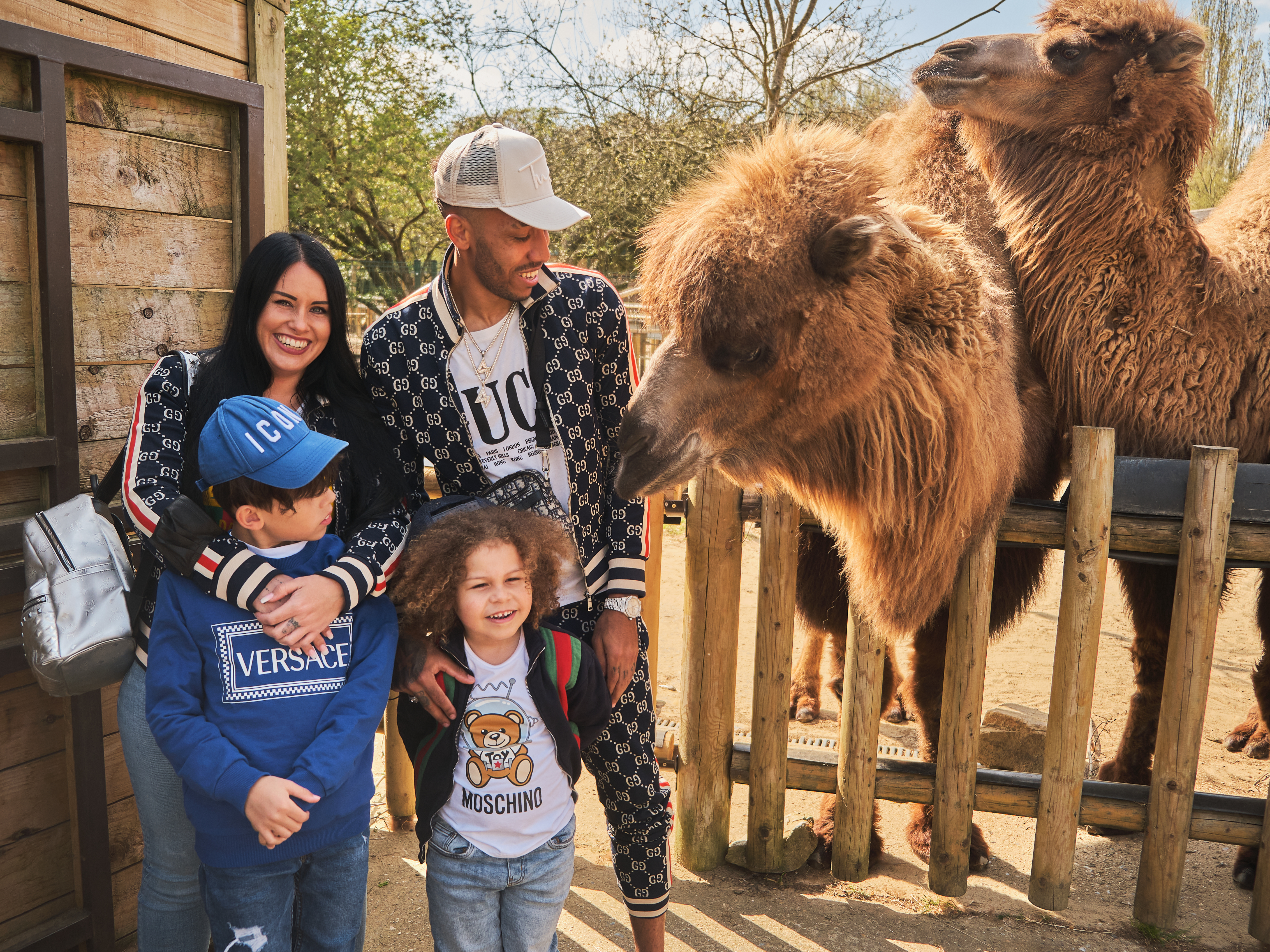 Pierre-Emerick Aubameyang and his family with a camel