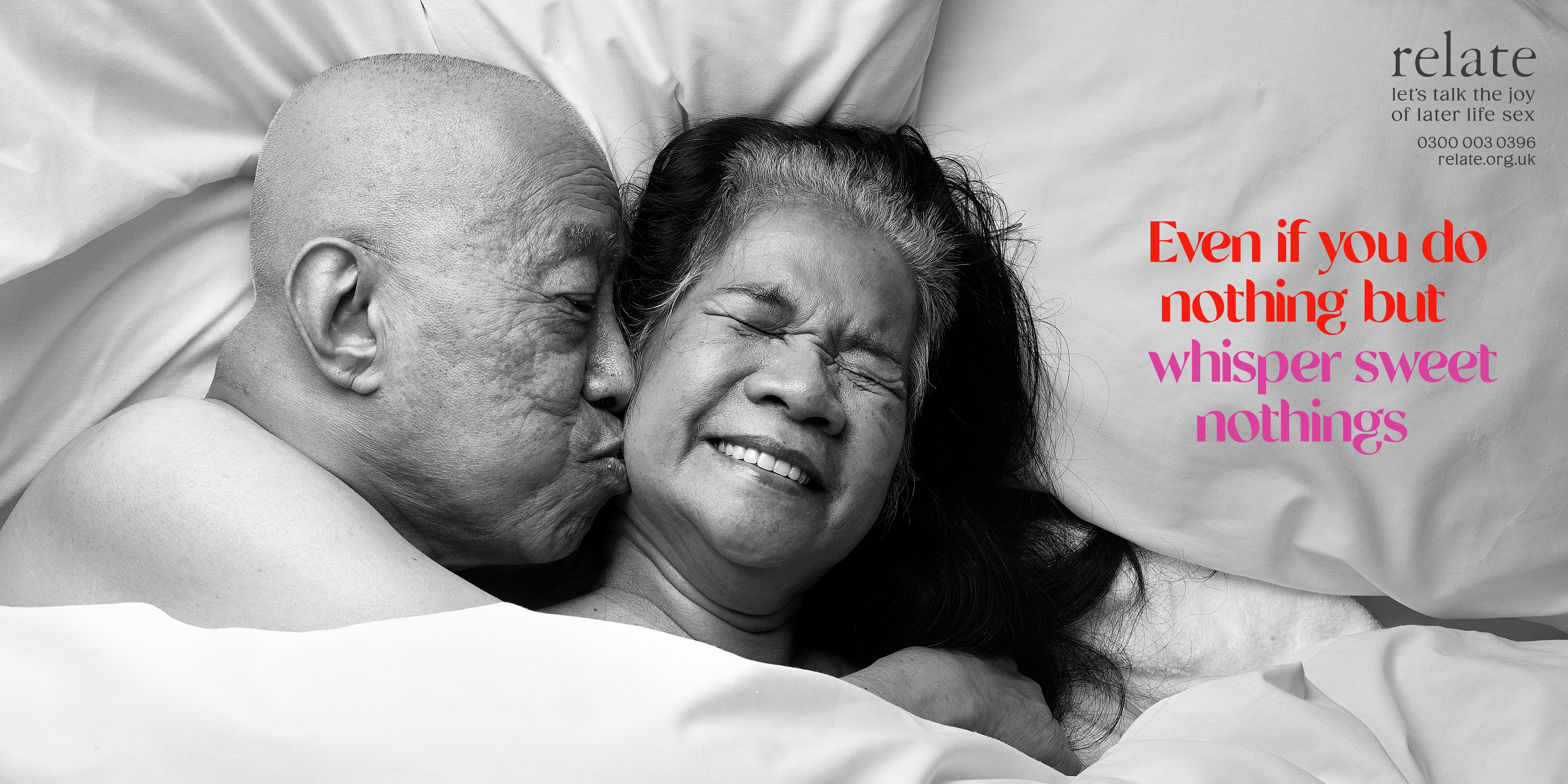 older couple lying in bed together with caption 'Even if you do nothing but whisper sweet nothings'