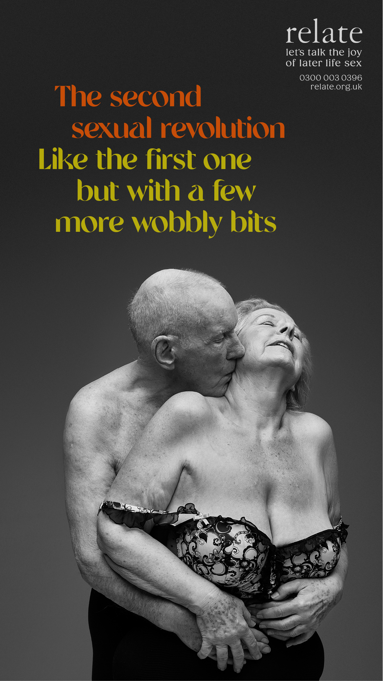 older man and woman embracing passionately with caption 'The second sexual revolution. Like the first one but with a few more wobbly bits.'