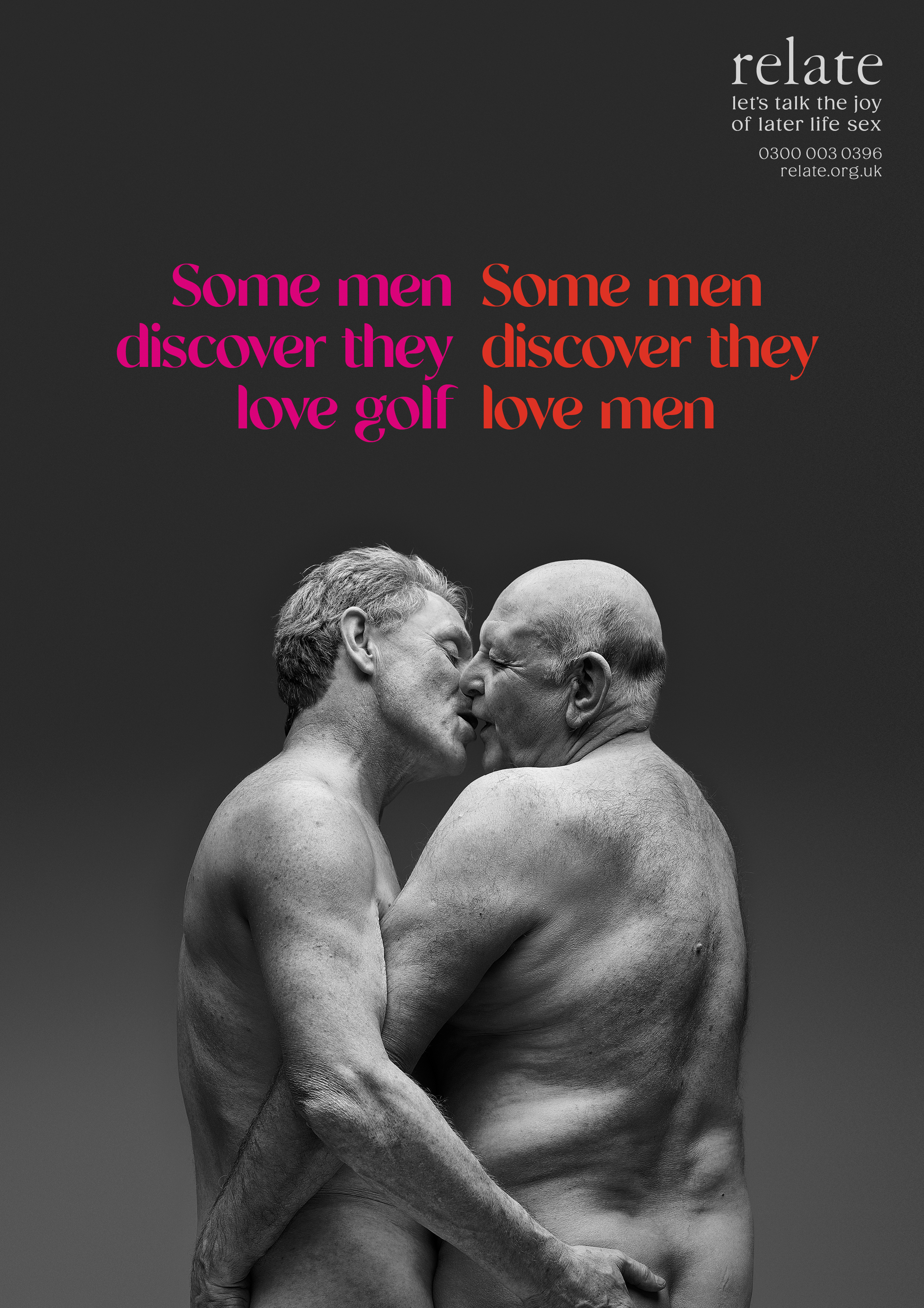 older men kissing and embracing with caption 'Some men discover they love golf. Some men discover they love men.'