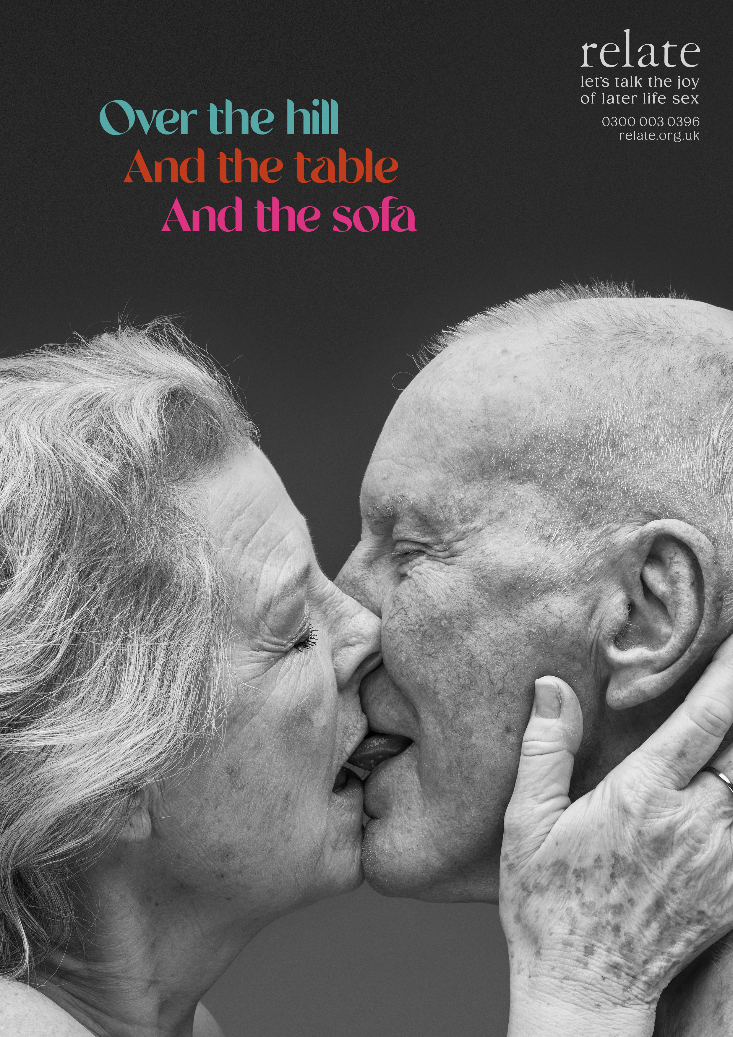 older man and woman kissing with caption 'Over the hill, and the table, and the sofa'