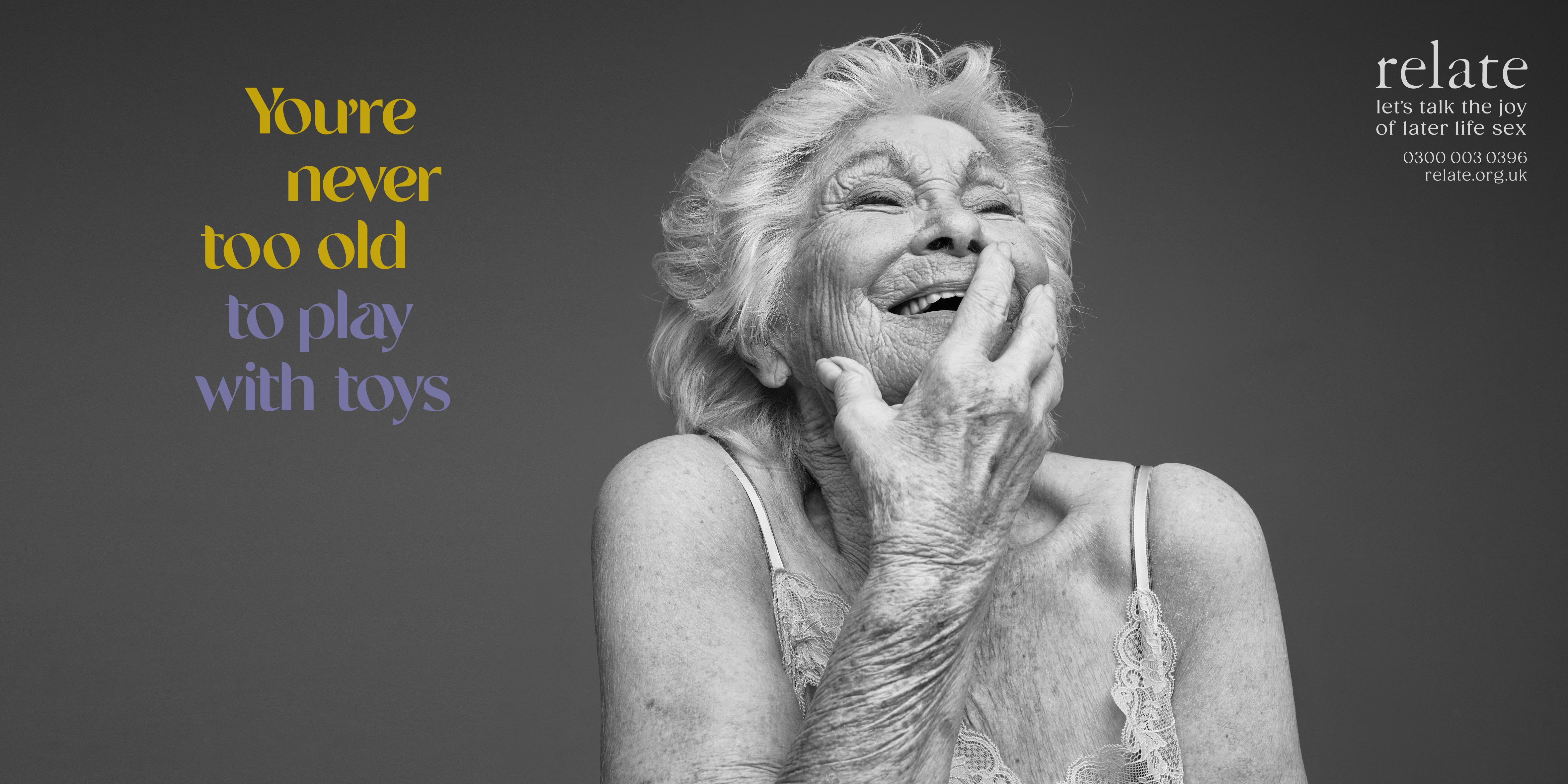older woman smiling with caption 'You're never too old to play with toys'