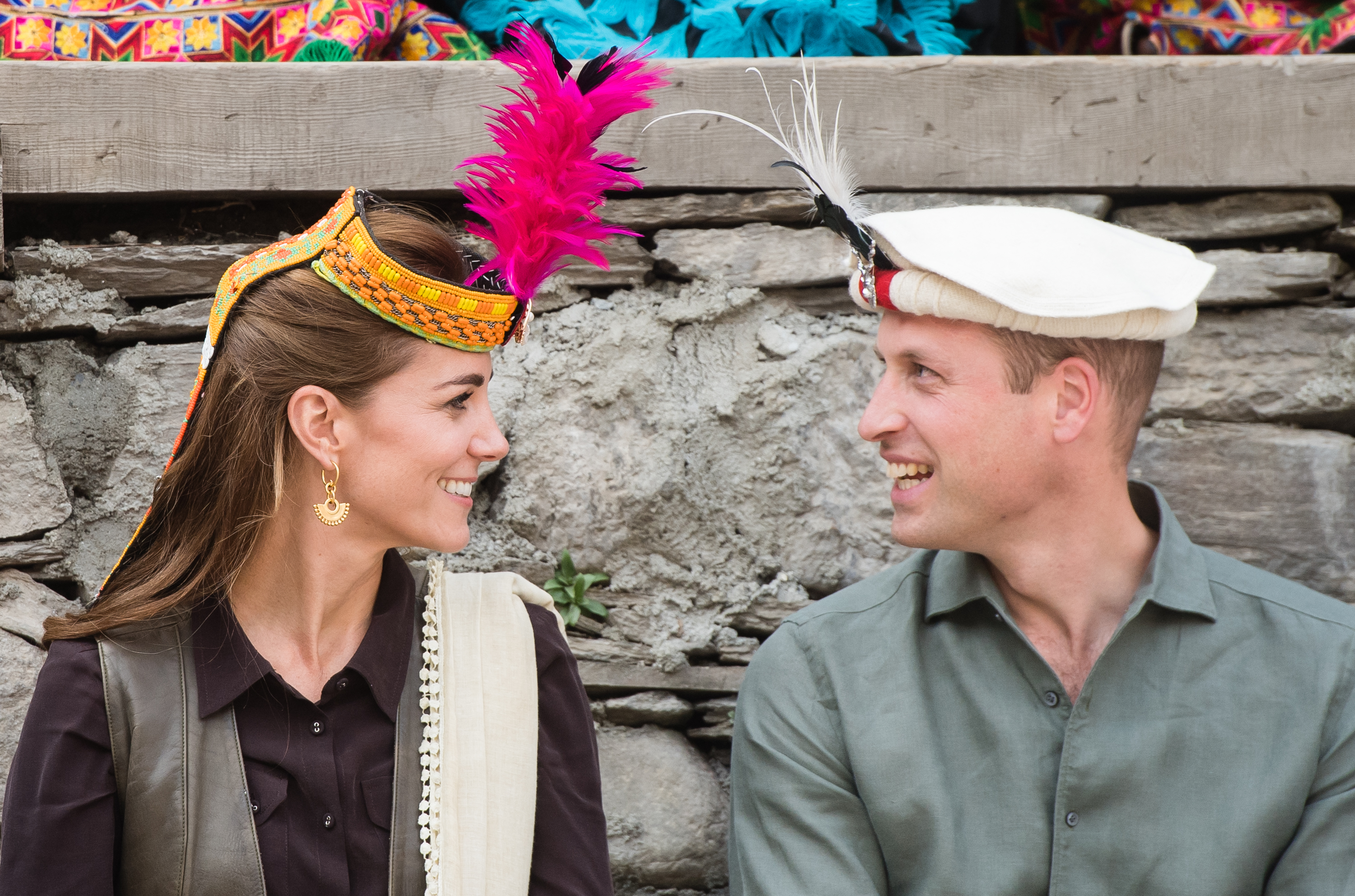 The Duke and Duchess of Cambridge during a visit to a settlement of the Kalash people