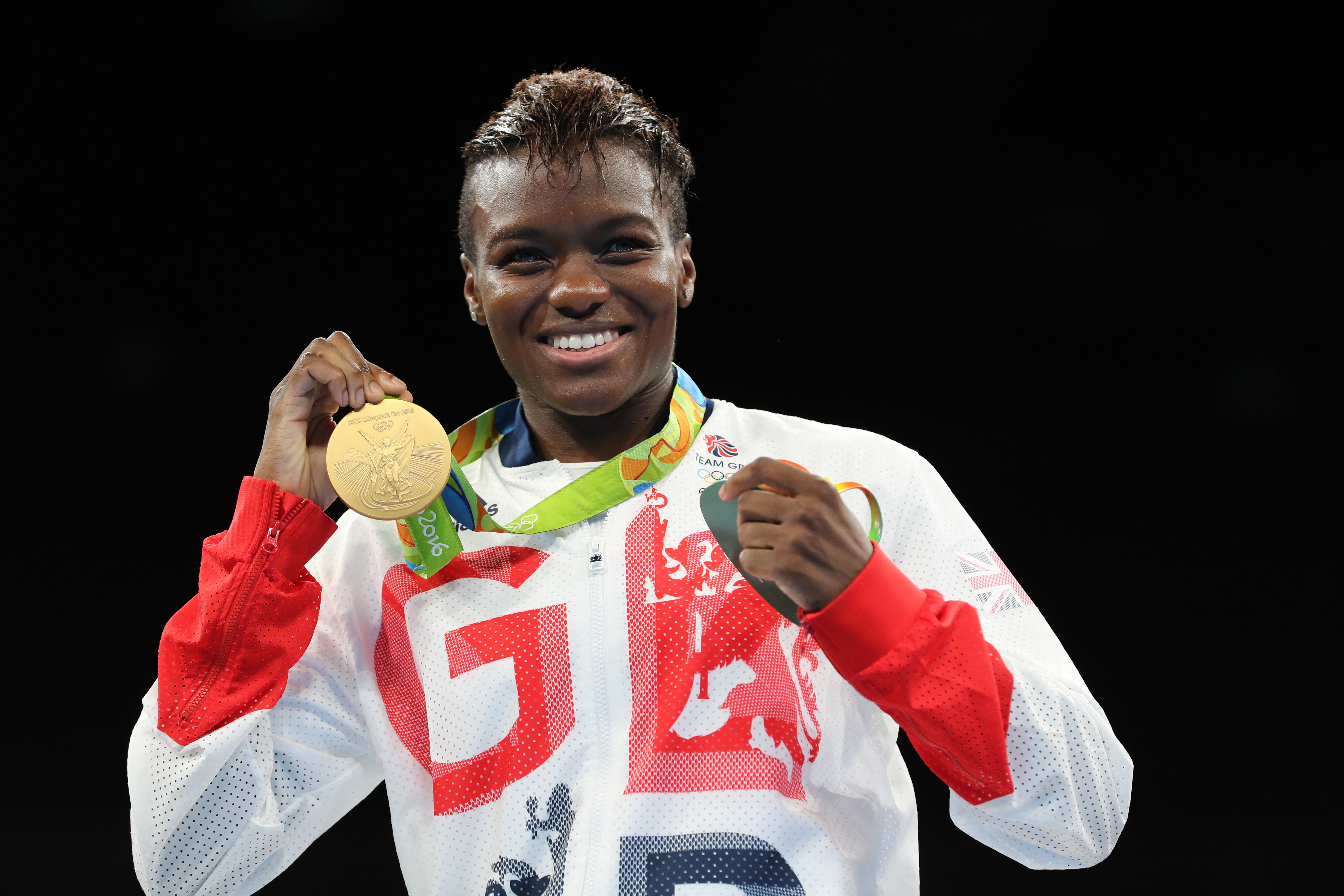 Great Britain's Nicola Adams with her gold medal at Rio 2016.