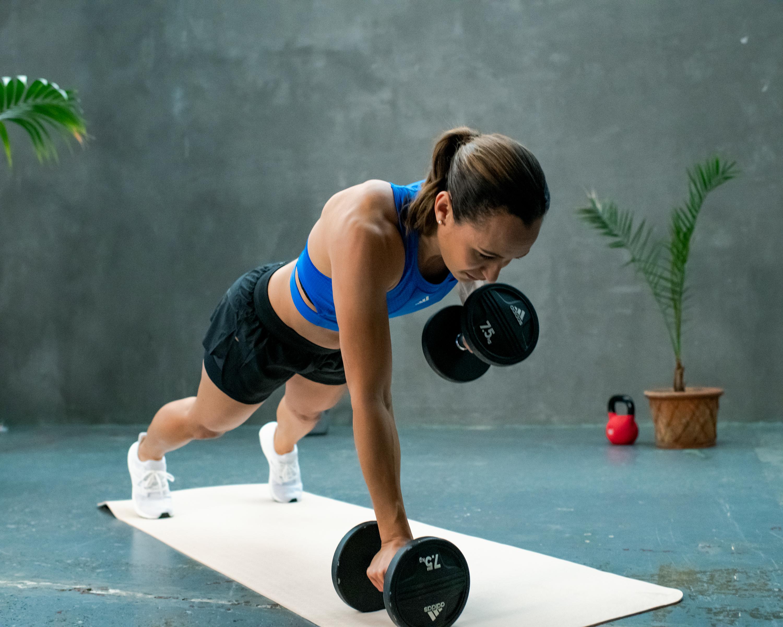 Jess Ennis-Hill doing a mat workout