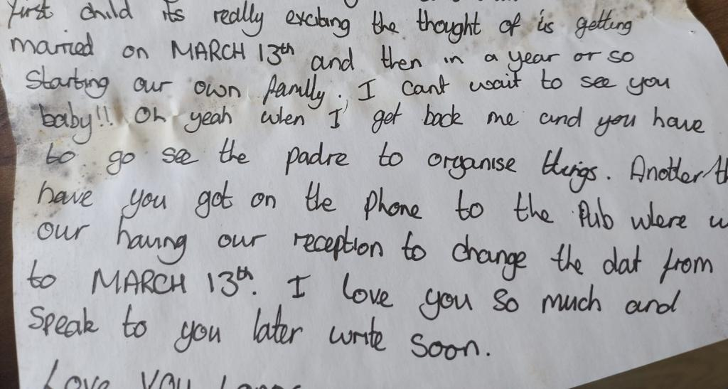 Letter from Matt Neve while he was deployed in Iraq, to his fiancee Zoe (PA/ Help for Heroes).