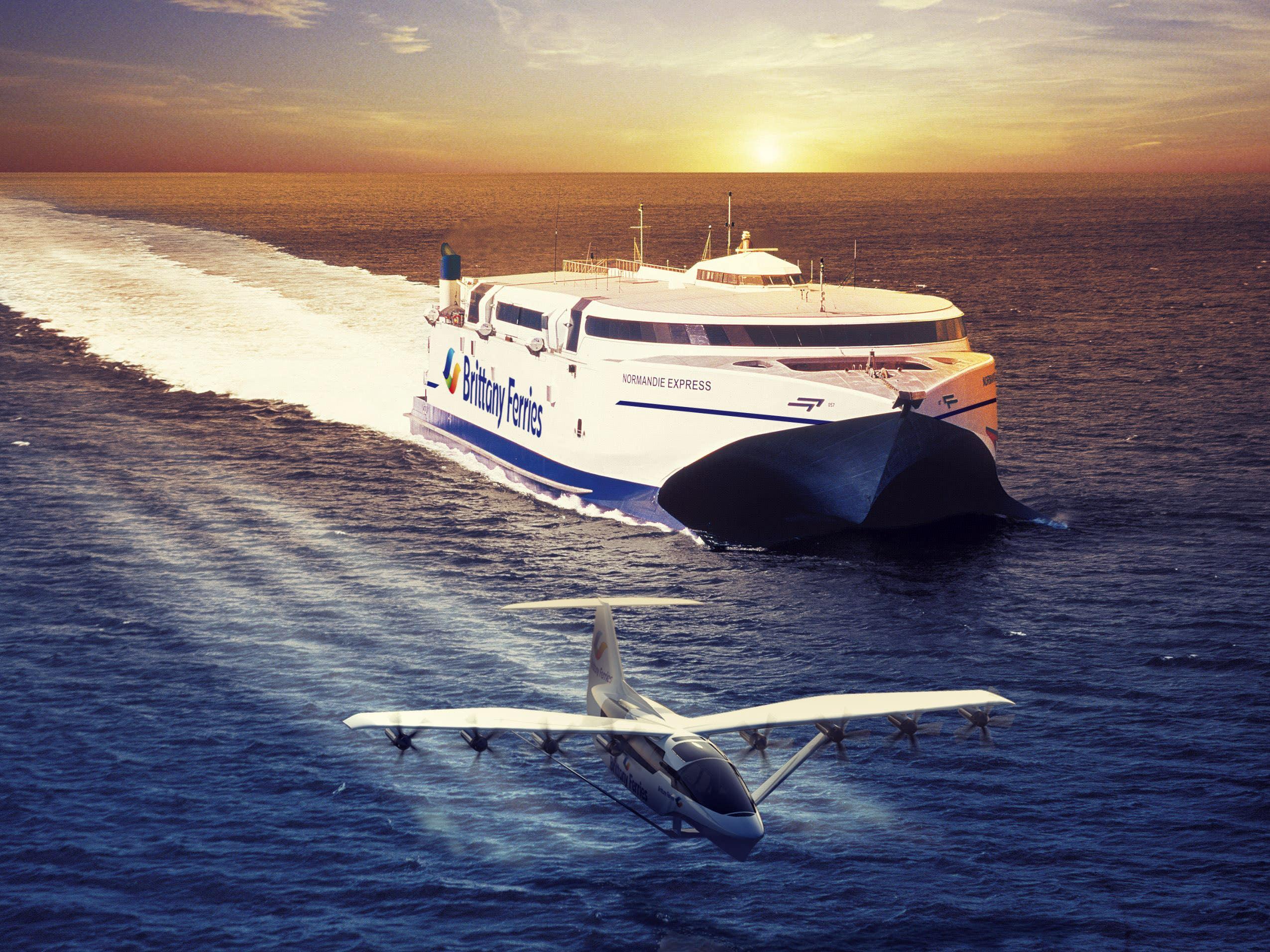 An artist's impression of a seaglider alongside a catamaran