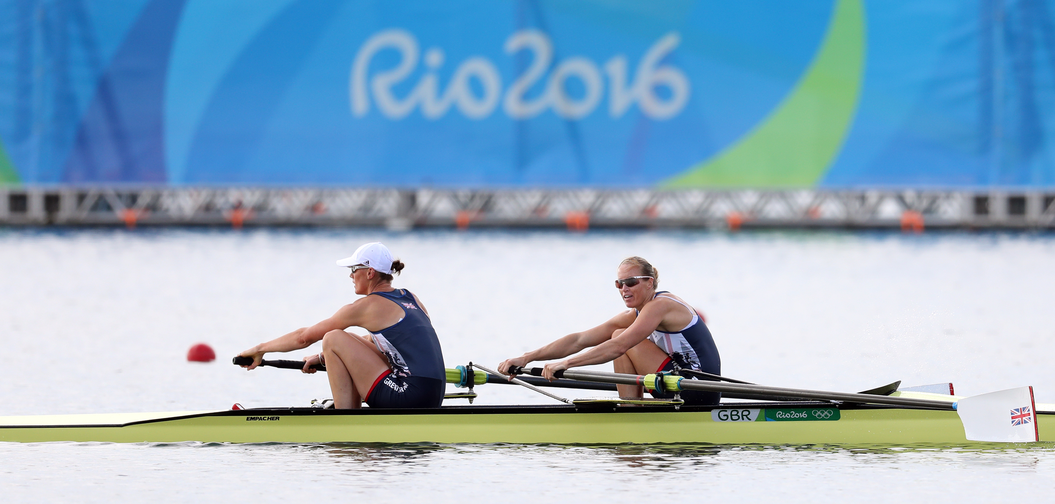 Helen Glover and Heather Stanning in the Women's Pair Semi Final at Rio 2016 (Martin Rickett/PA)