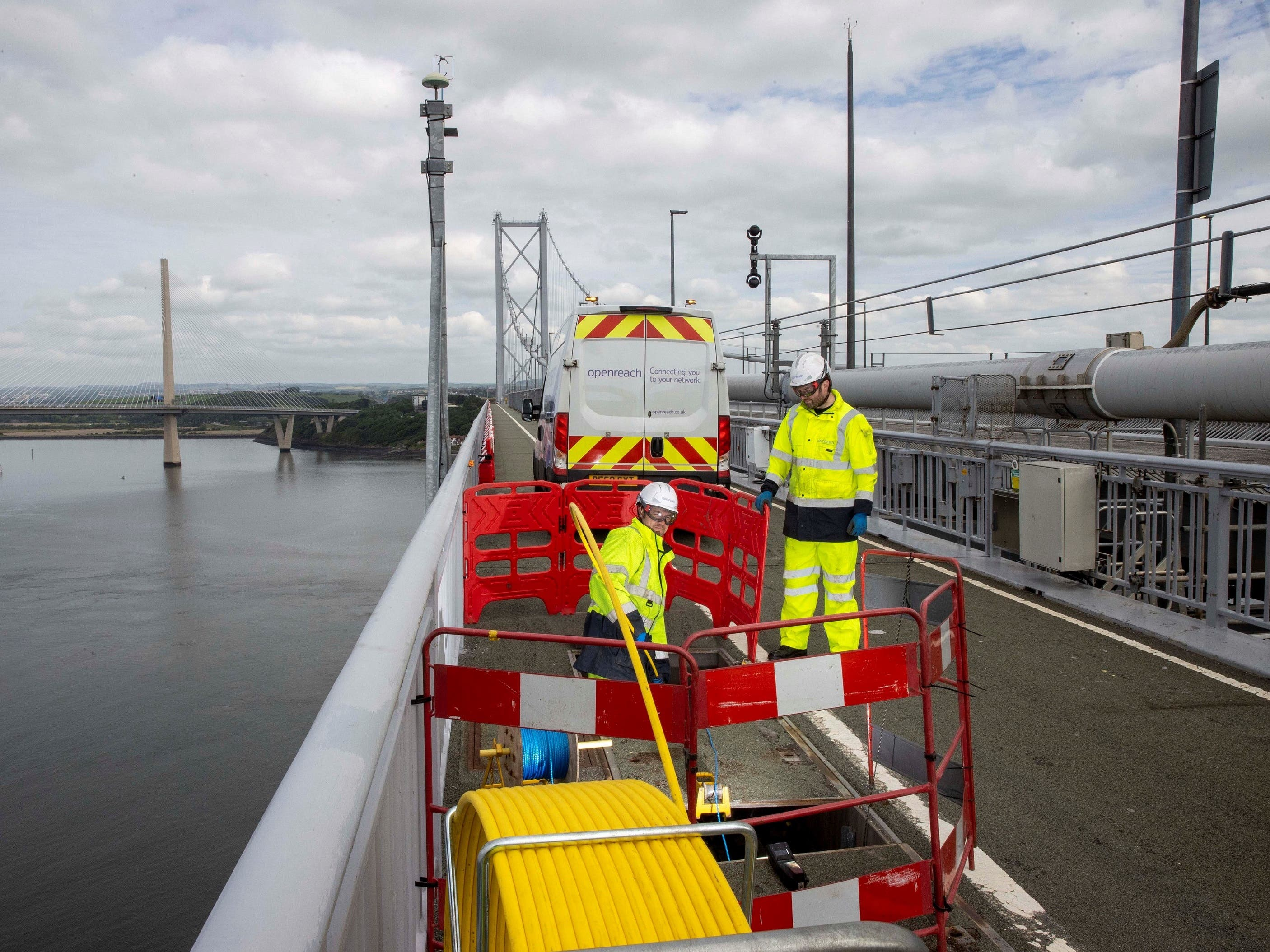 Openreach workers on the Forth Road Bridge