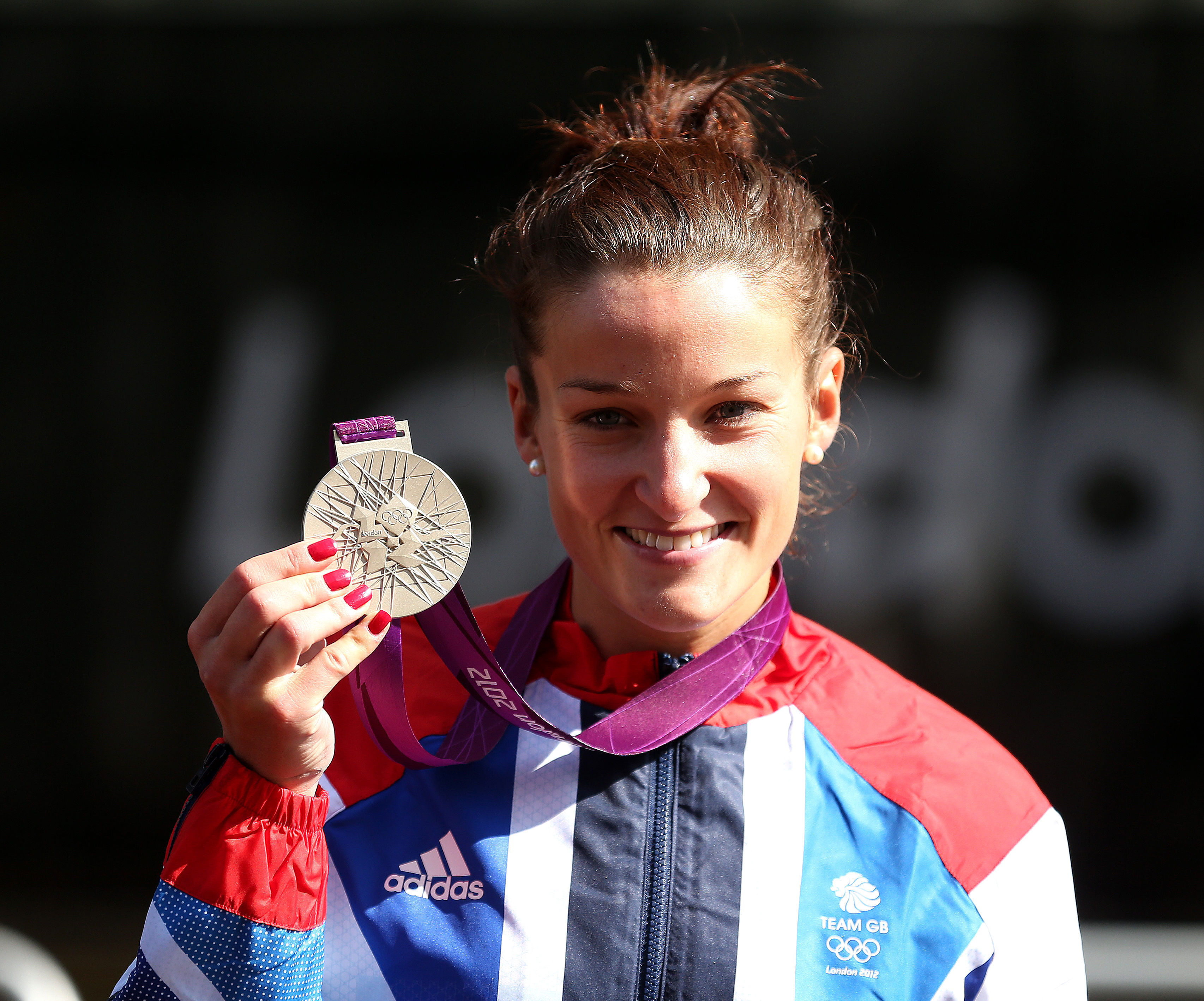 Lizzie Deignan with her silver medal at London 2012
