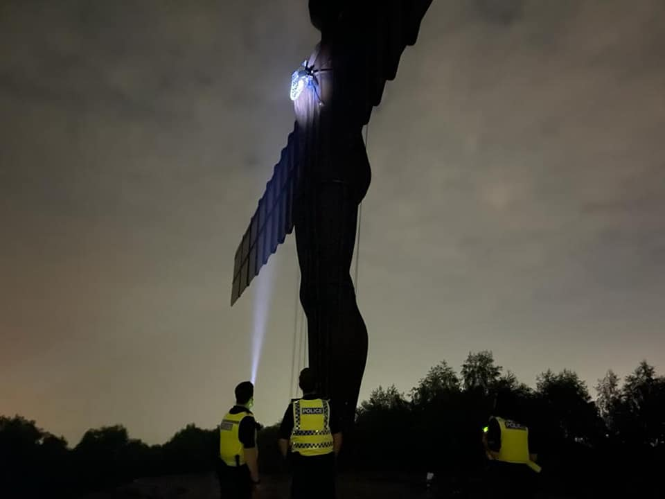 The Angel of the North with an English badge