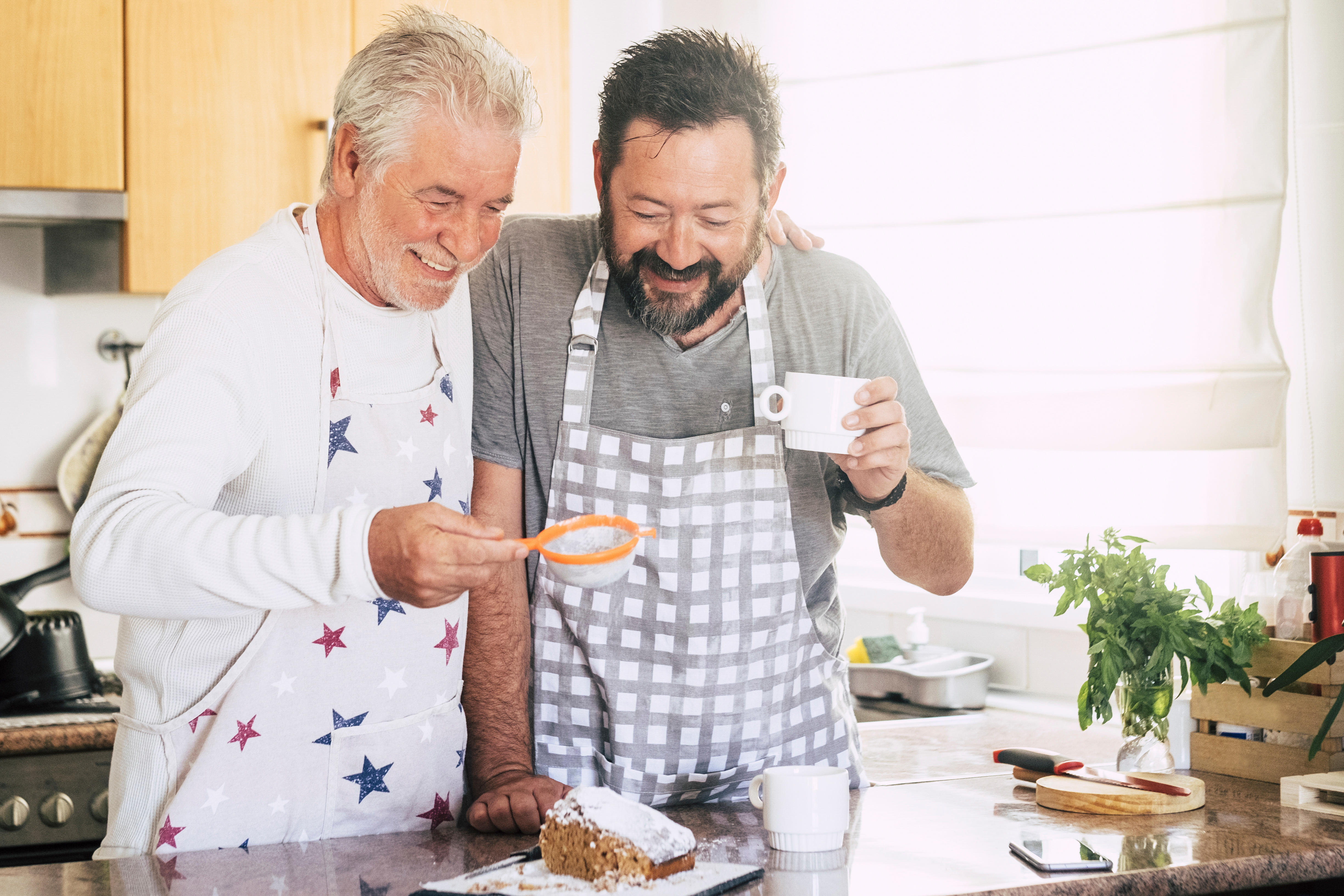 Dad and son baking